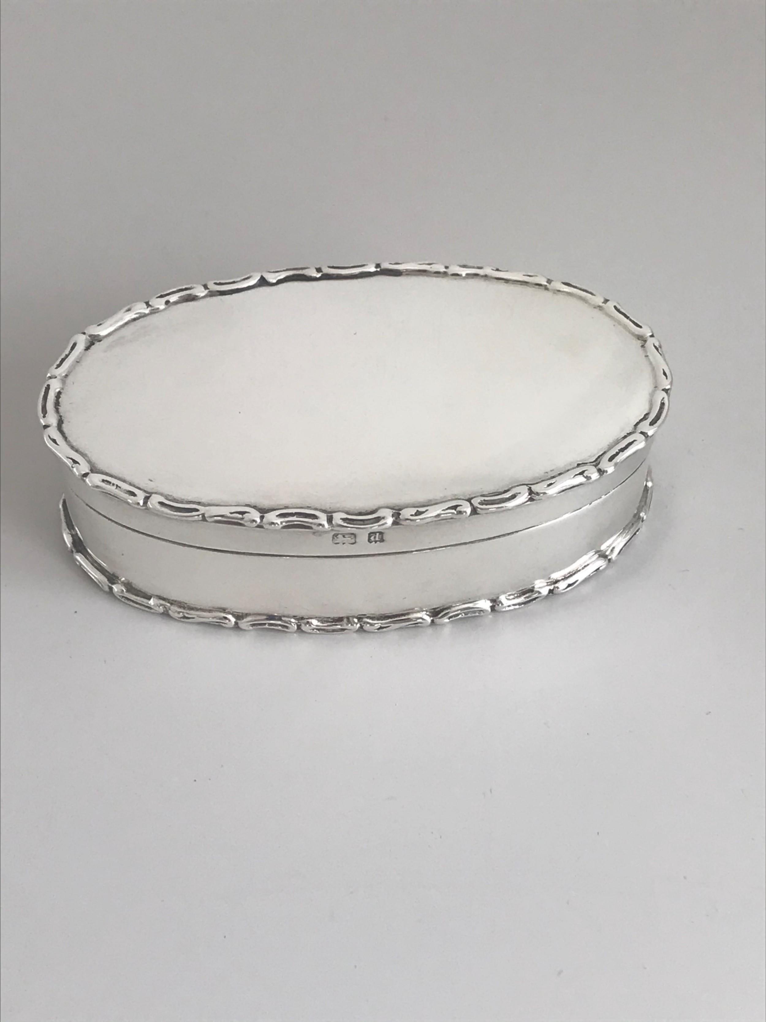 silver oval trinket box birmingham 1903