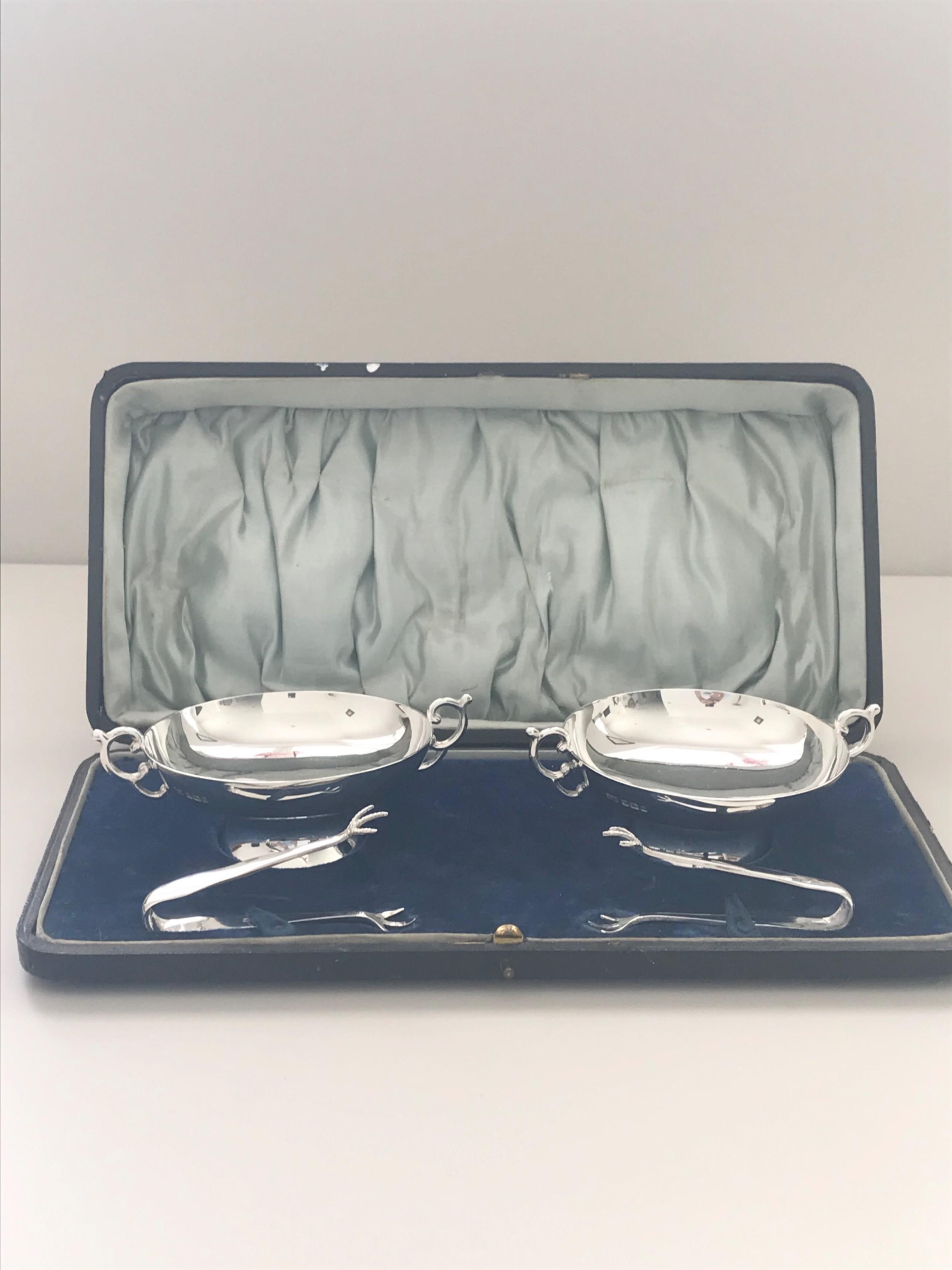 silver sugar bowls with matching sugar tongs in original box maker lee wigfull