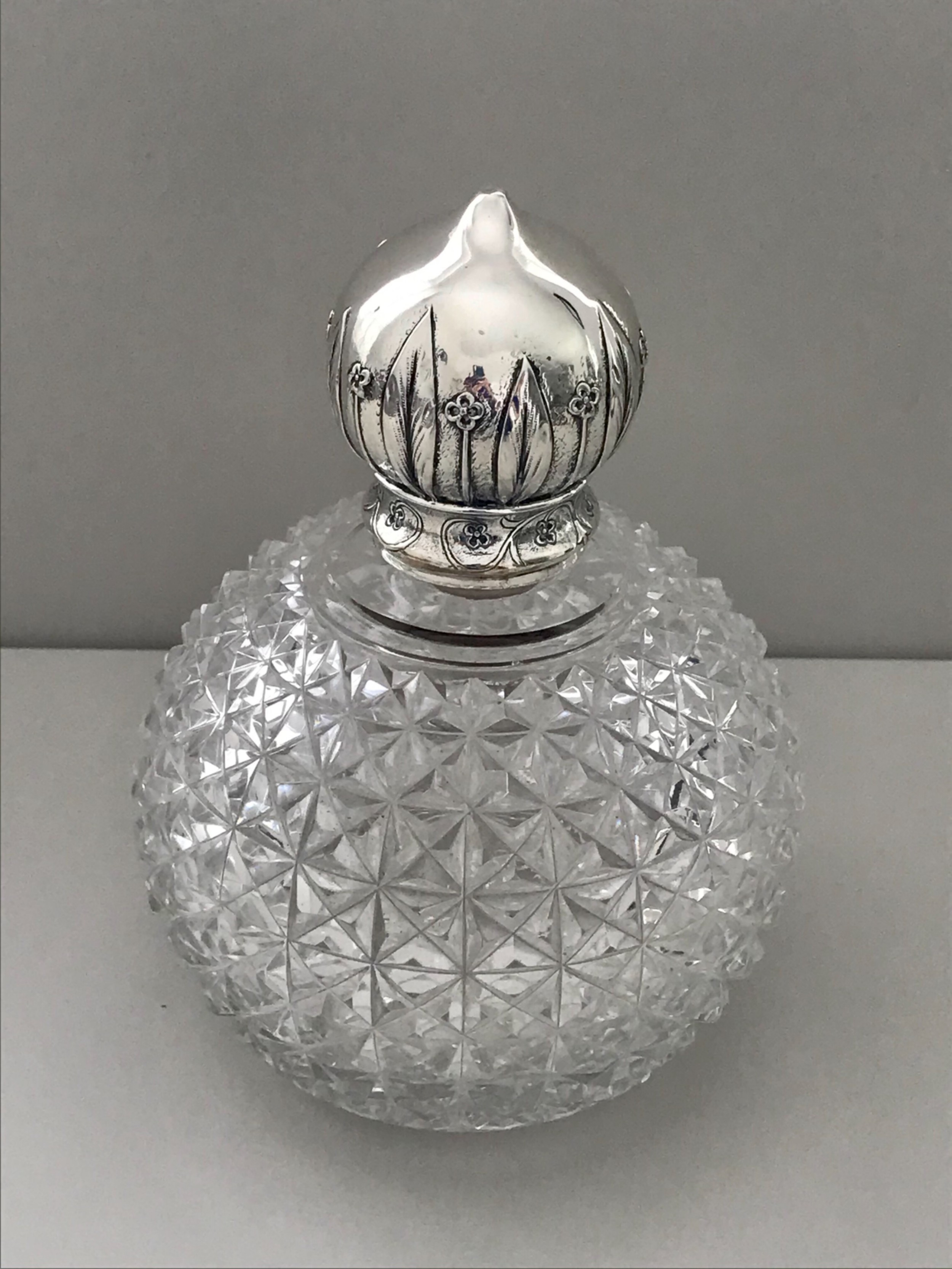 a very stylish large glass and silver scent bottle birmingham 1887