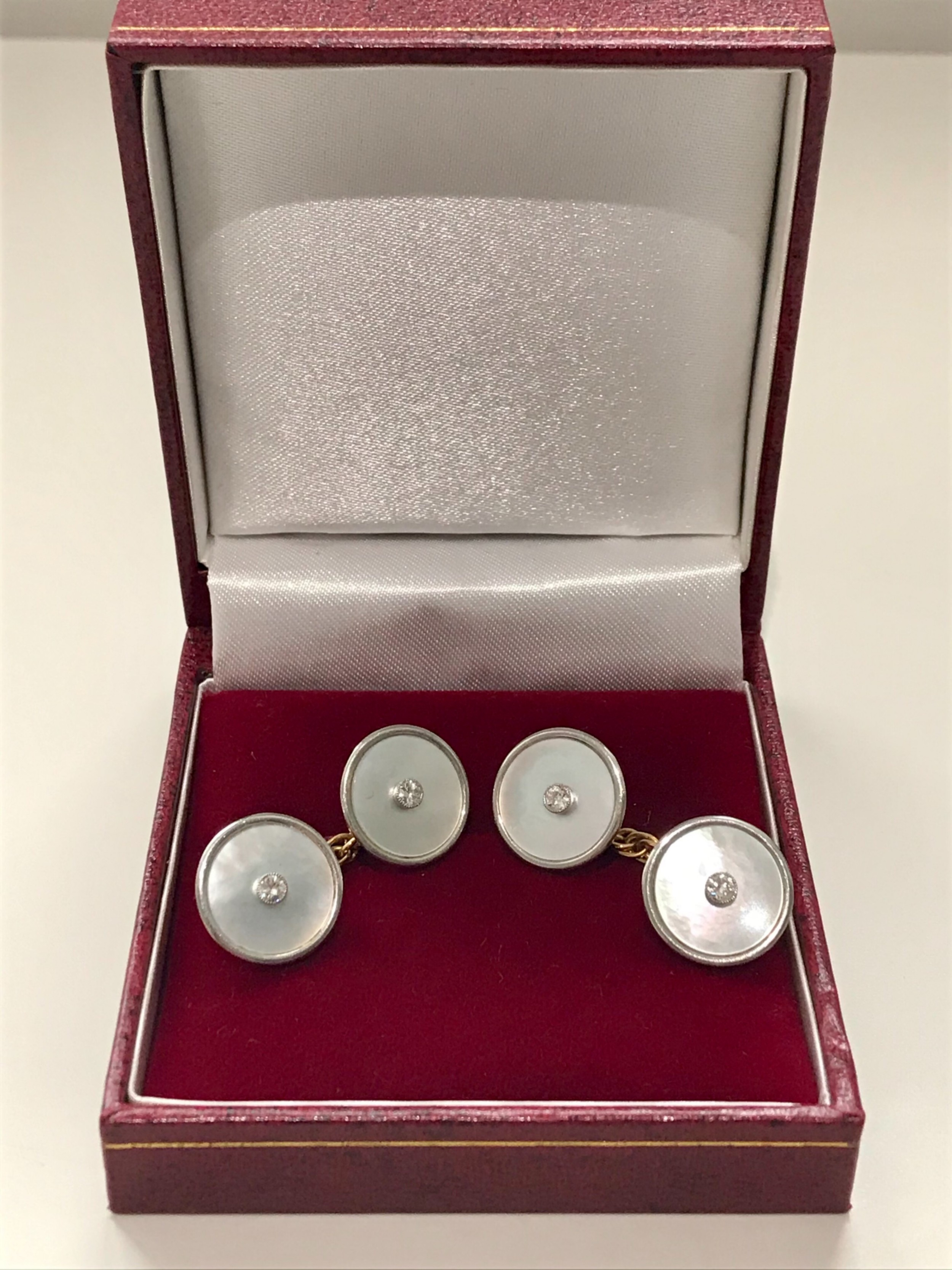18ct yellow gold and platinum diamond and mother of pearl cufflinks