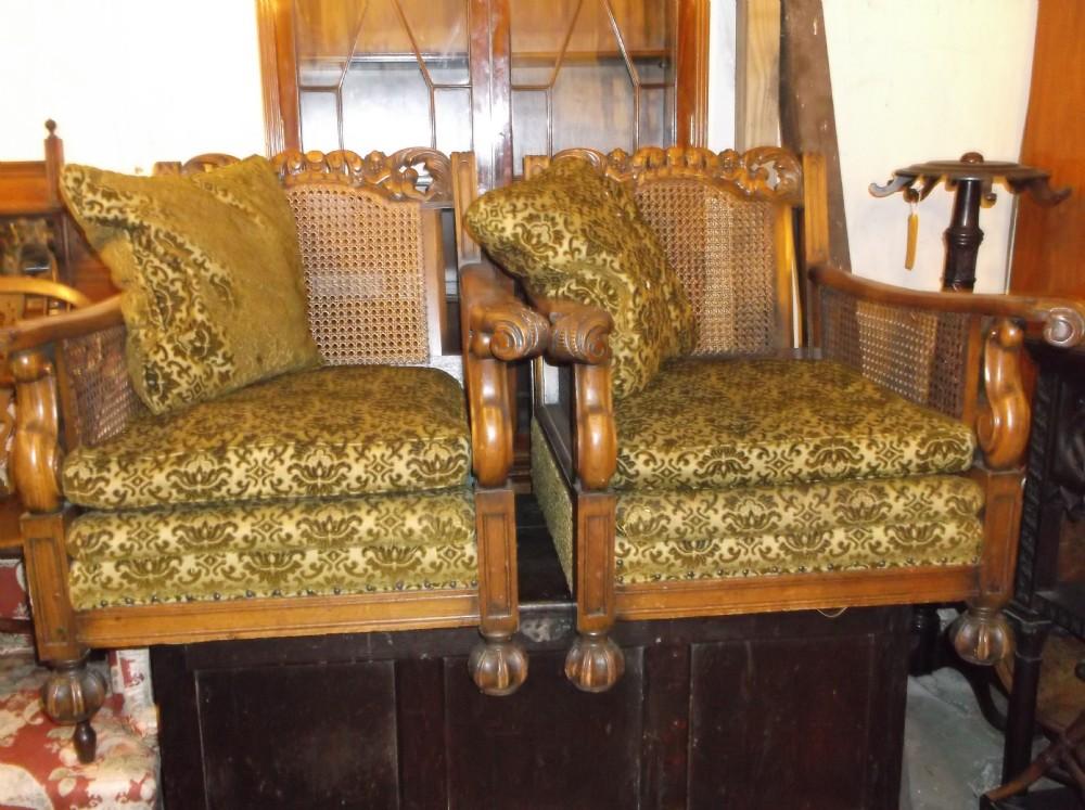 bergere carved oak easy armchair