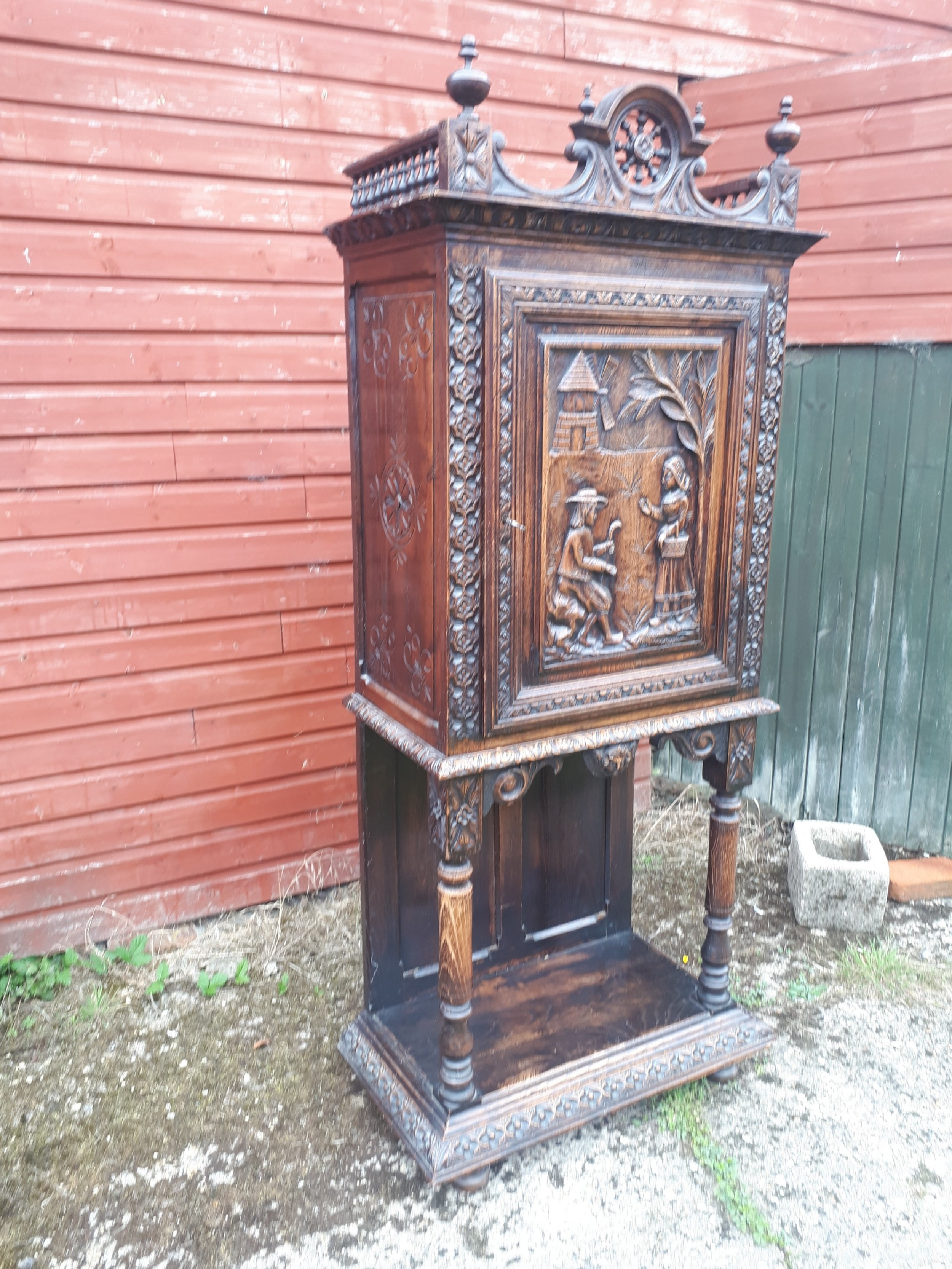 late 19th century carved hall cupboard