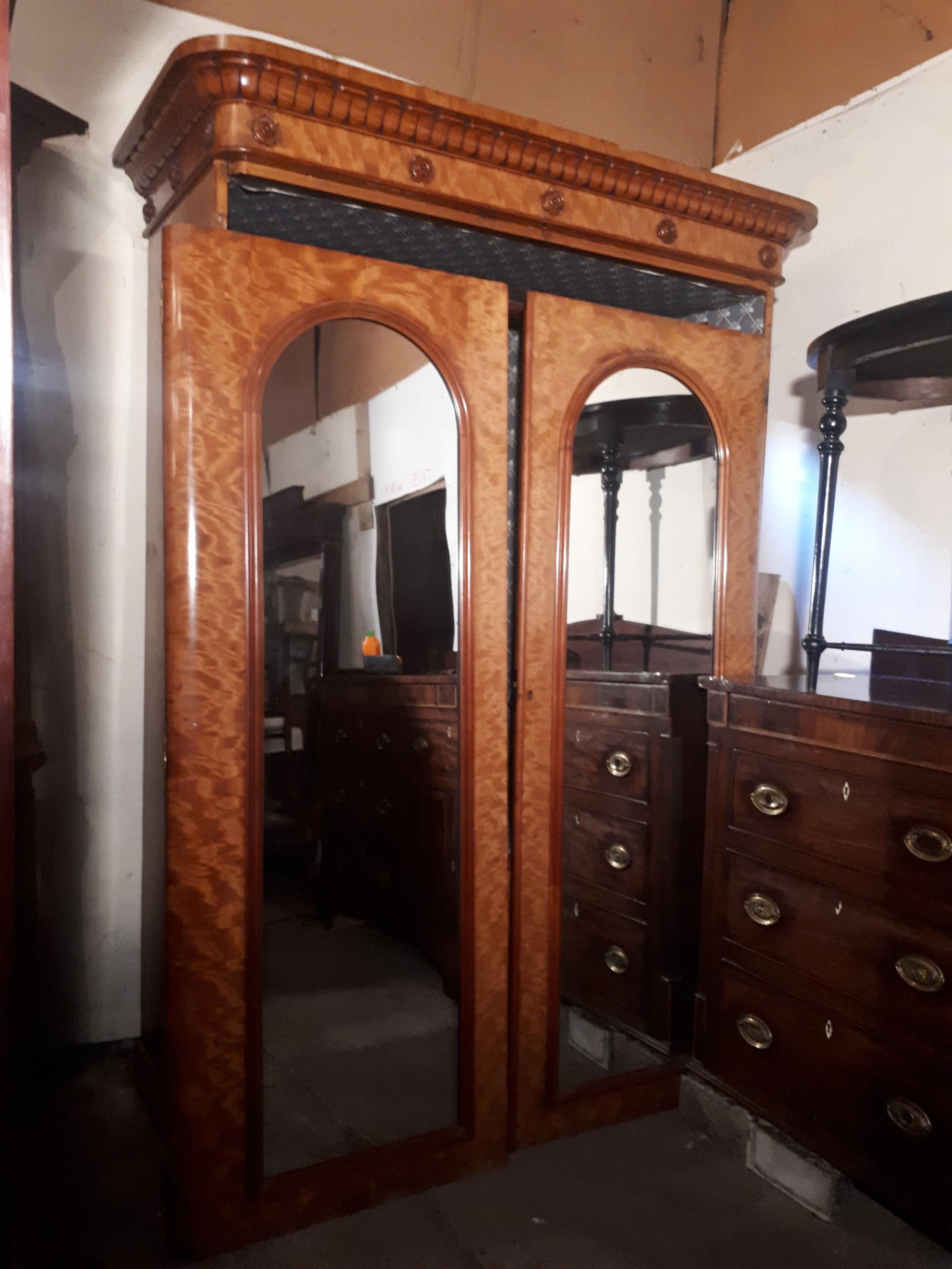 good victorian satinbirch hanging wardrobe