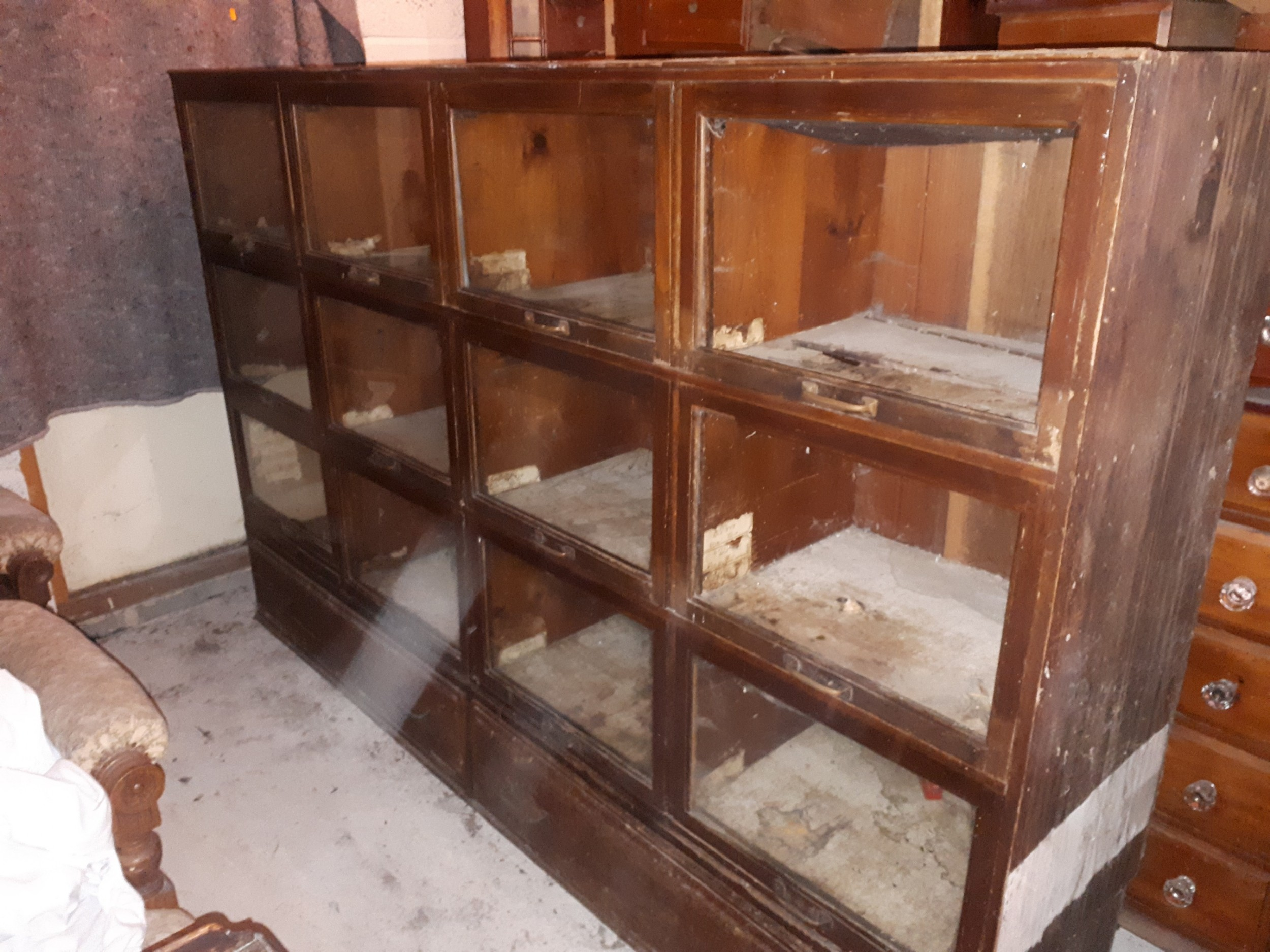 useful early 20th century mahogany haberdashery cabinet