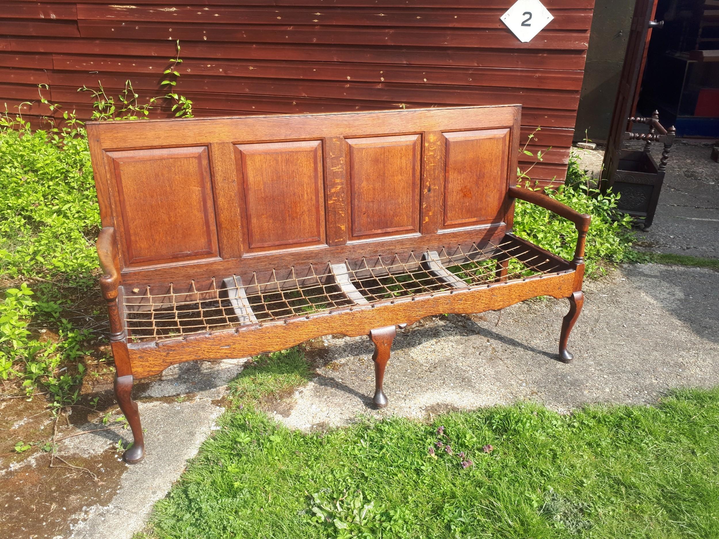 late georgian panelled back oak hall seat