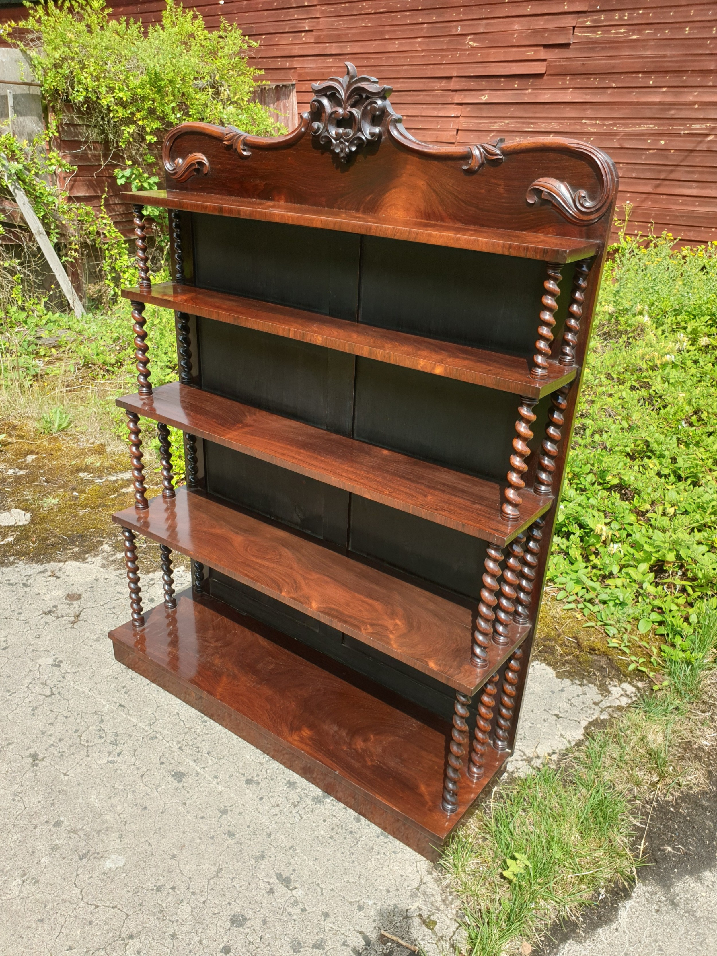 good early victorian rosewood open bookcase