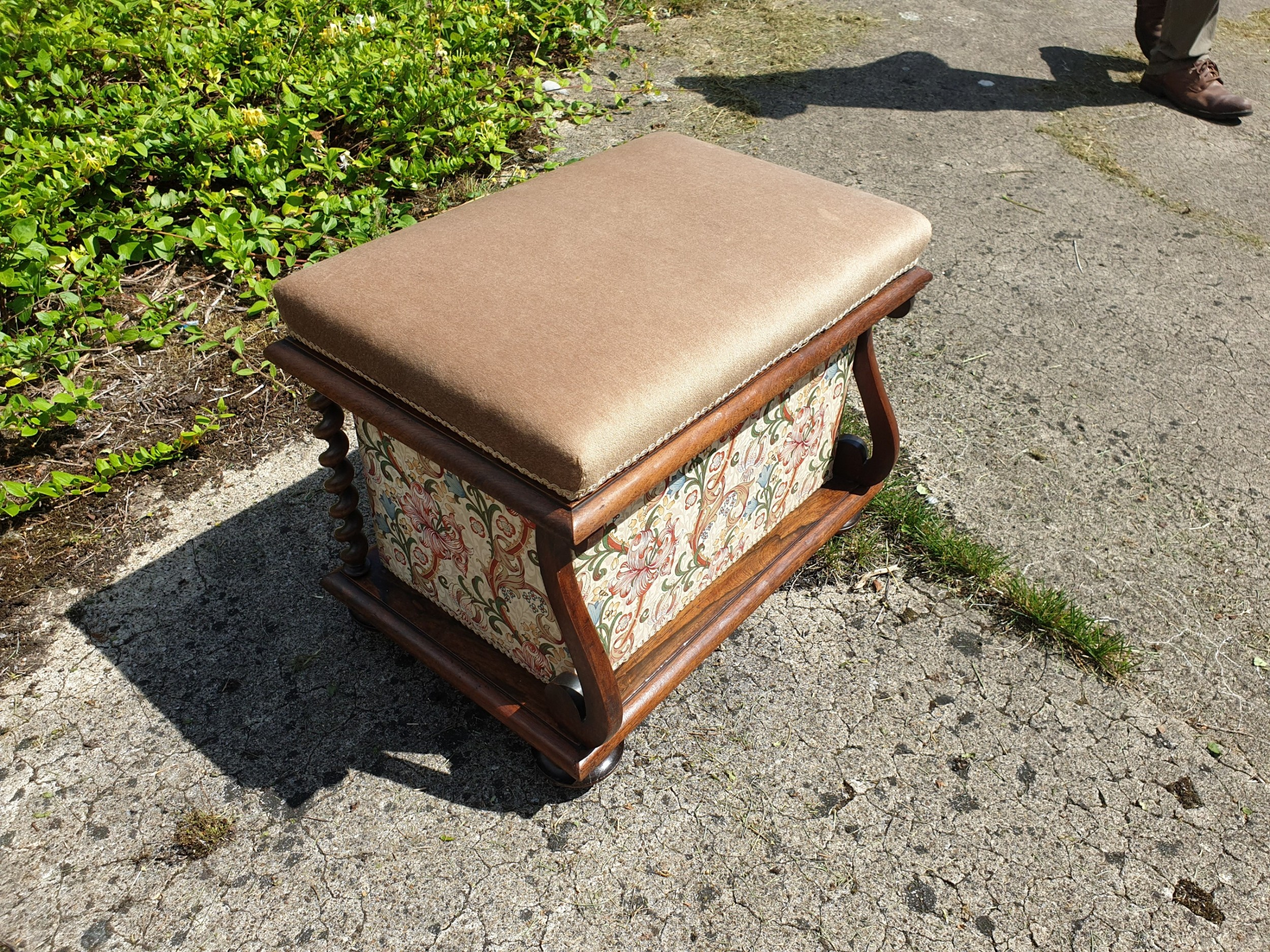 good early victorian rosewood box seat stool