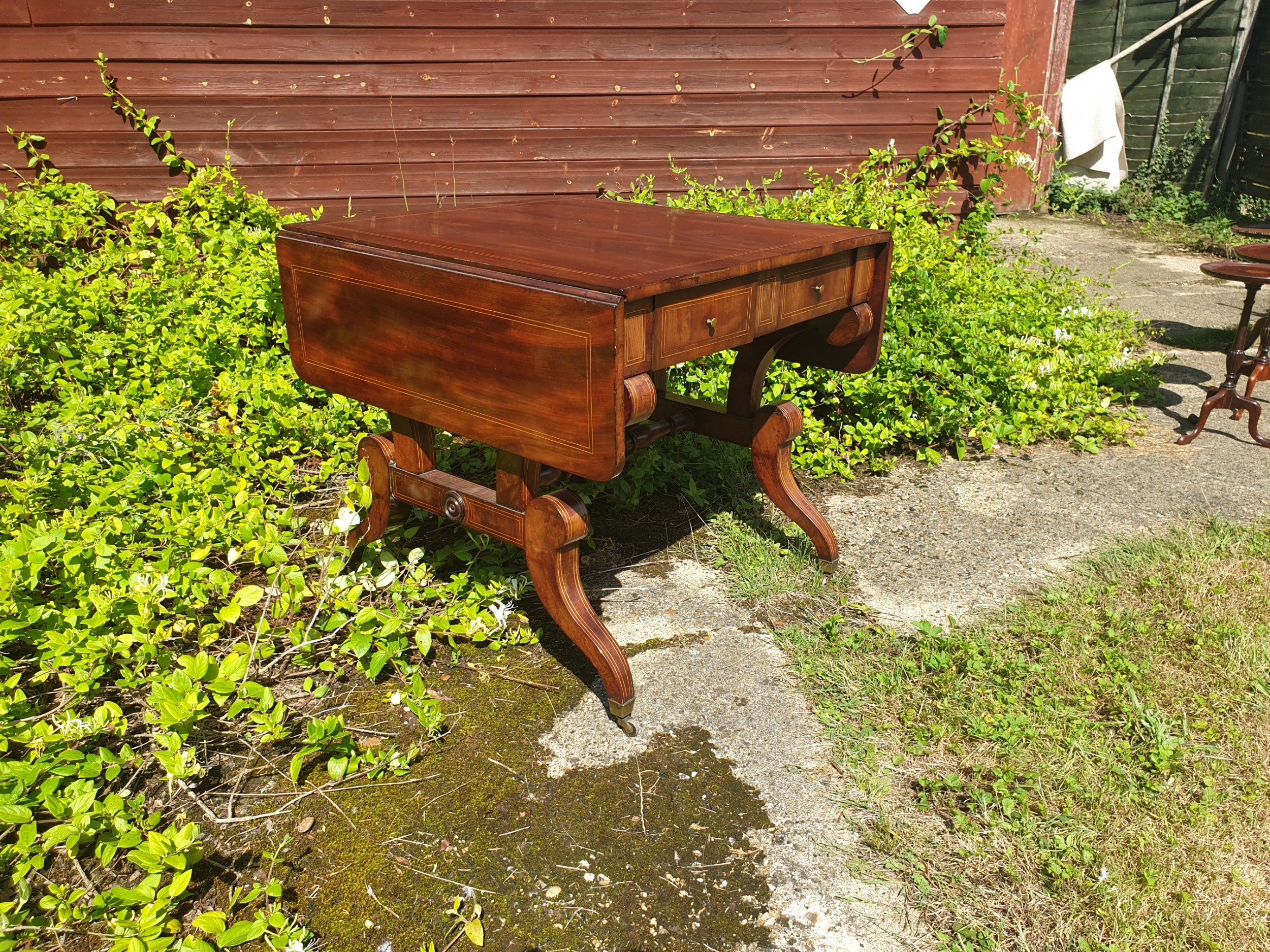 19th century inlaid mahogany 2 drawer sofa table