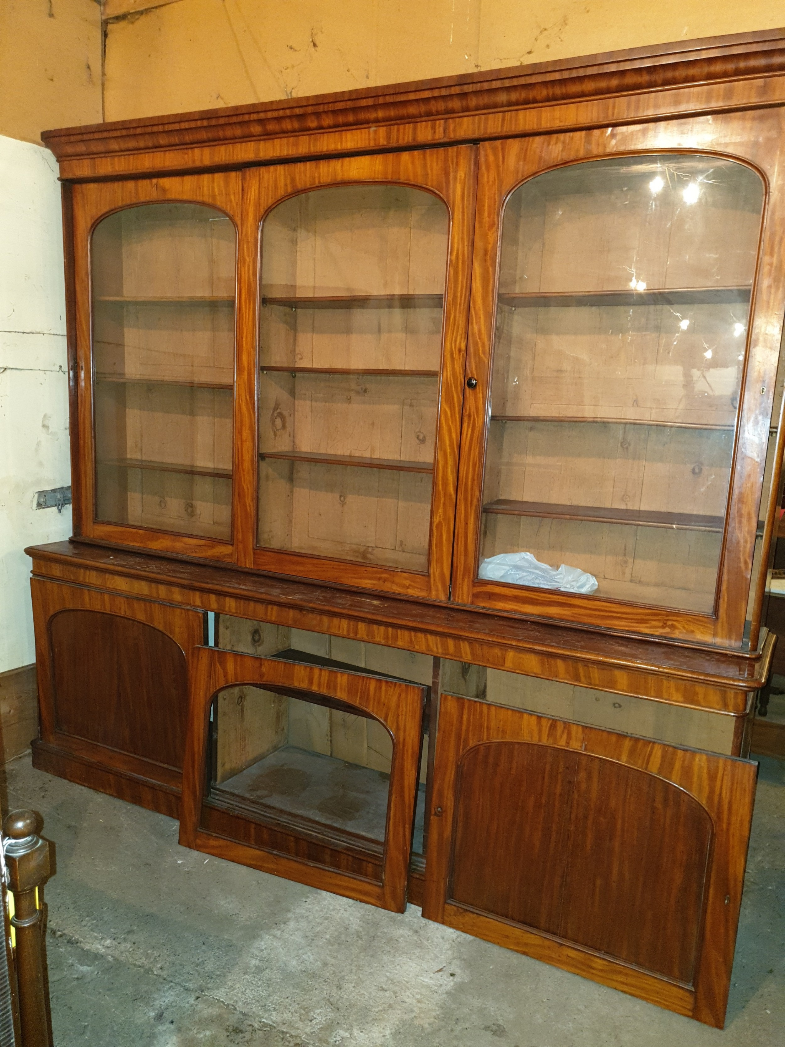 large victorian mahogany library bookcase with sliding doors