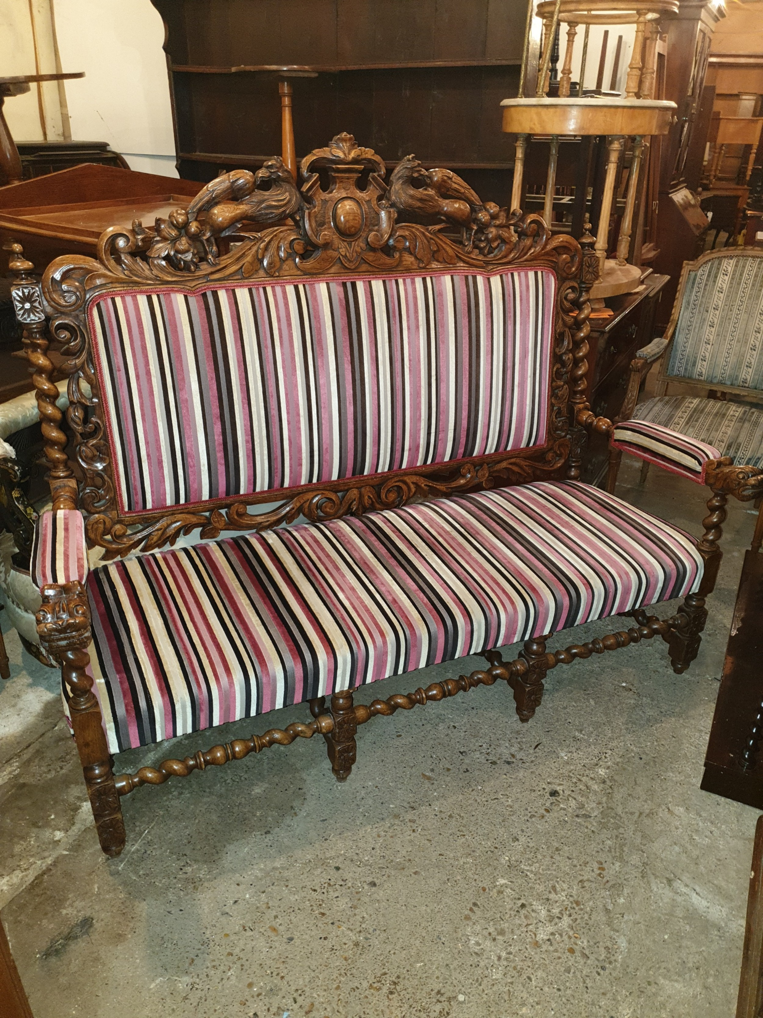large victorian carved oak hall seat