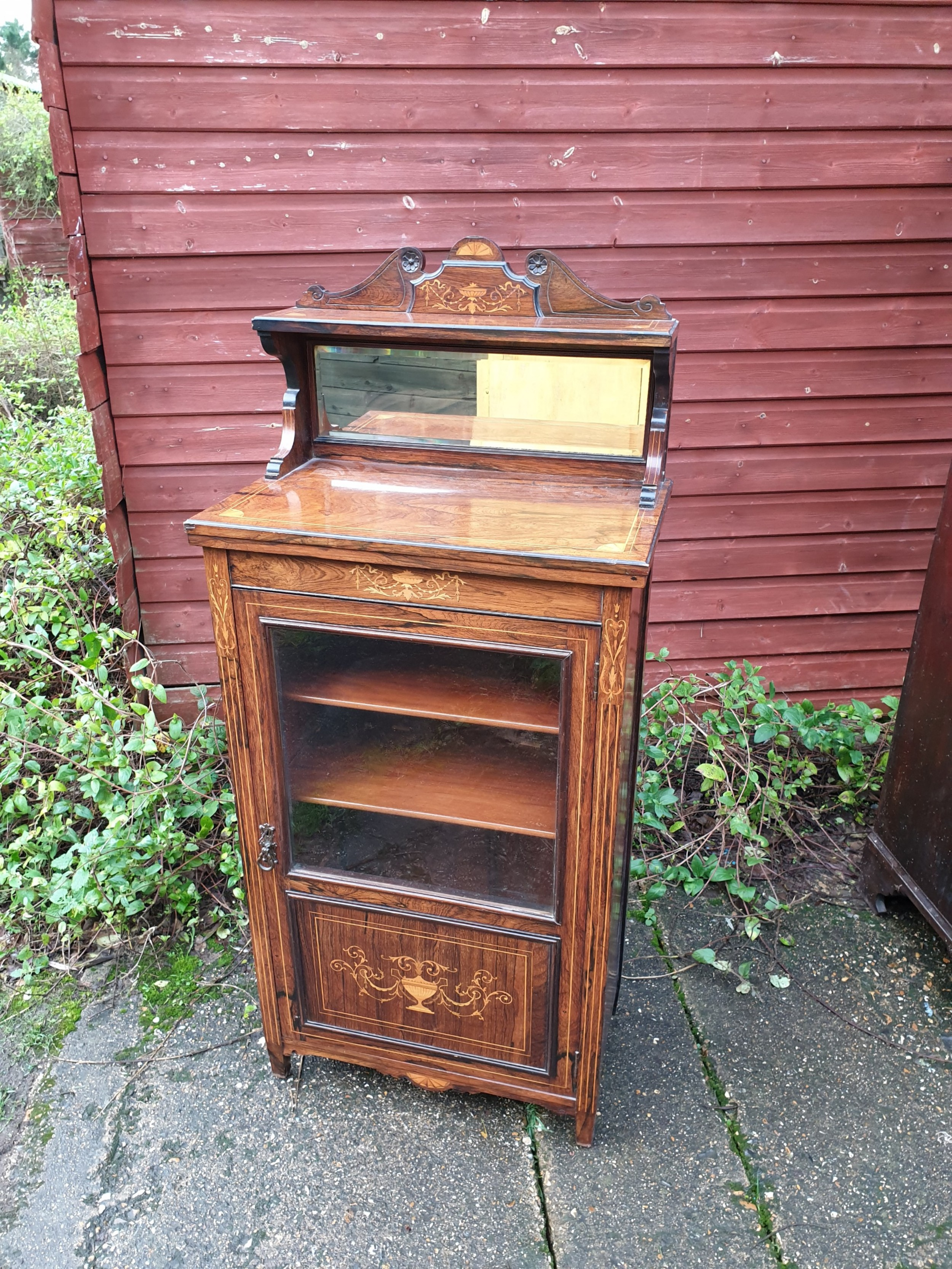 late victorian inlaid rosewood music cabinet