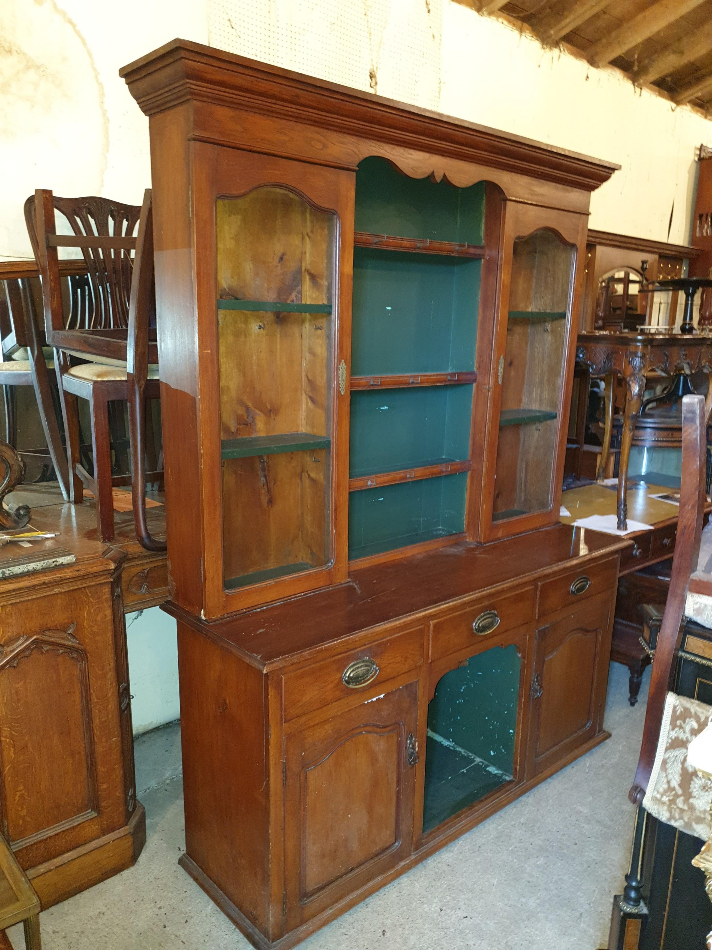 late victorian oak dog kennel 2 part dresser