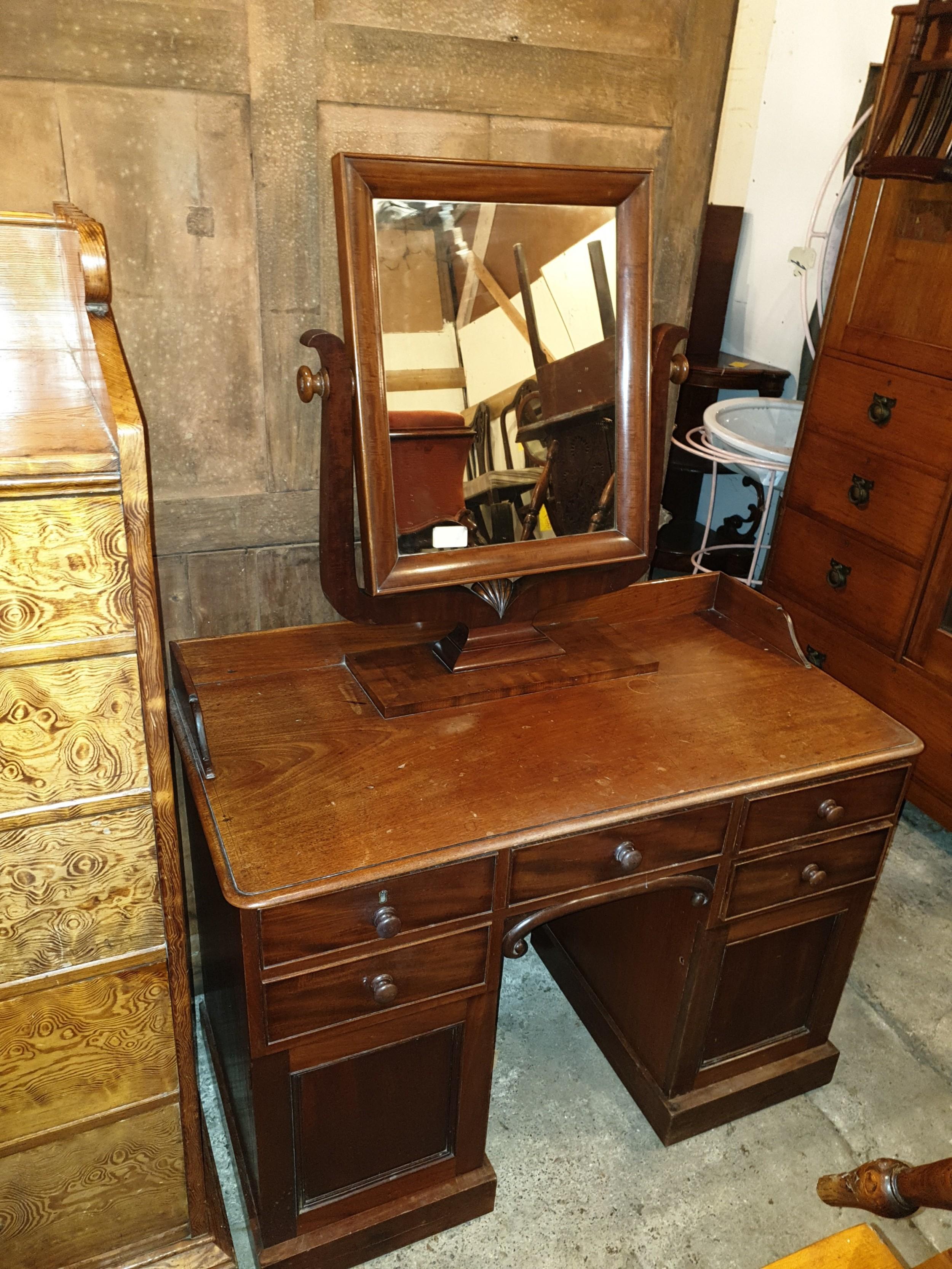mid 19th century mahogany kneehole dressing table