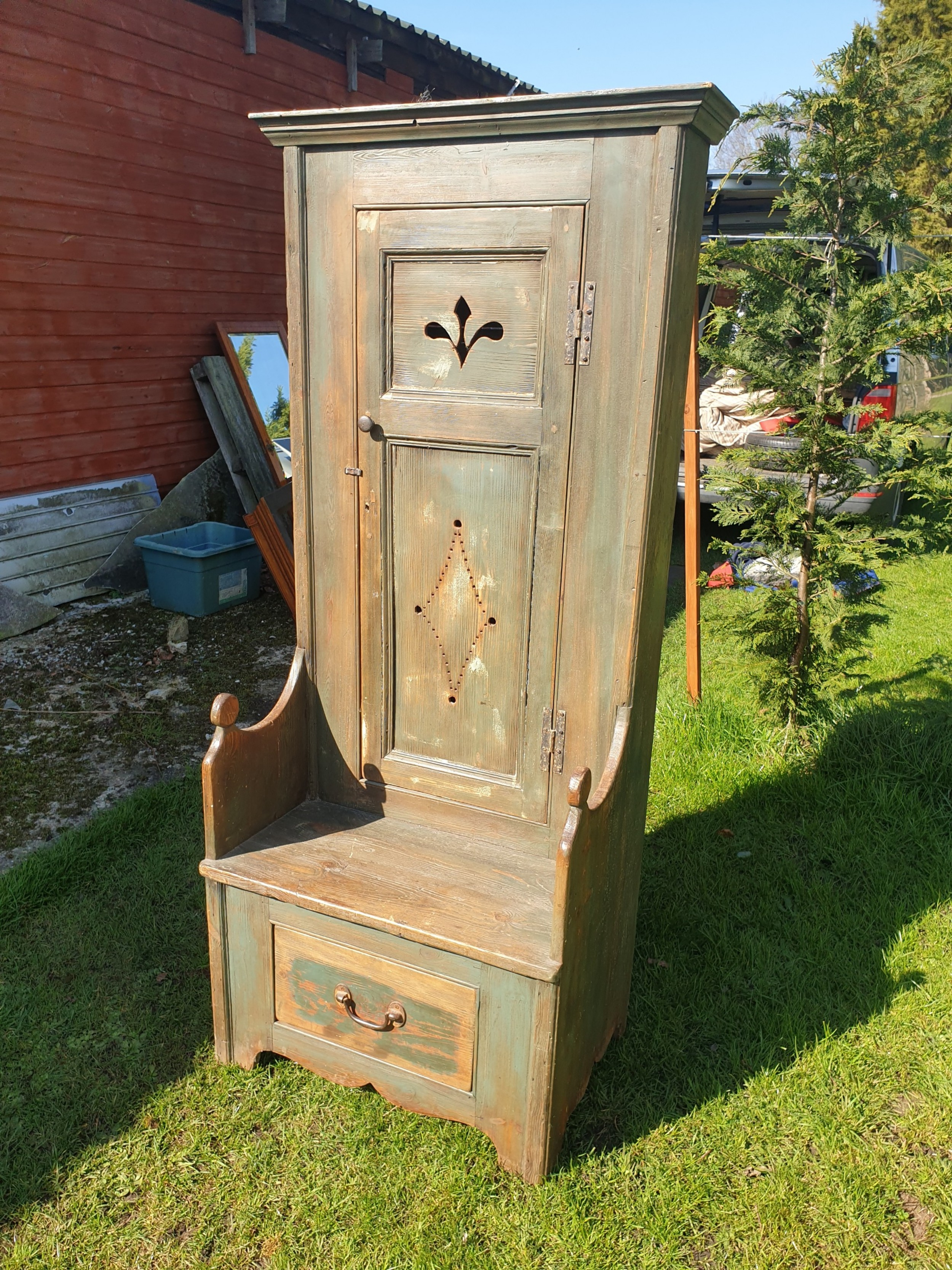 early 20th century hall seat with cupboard