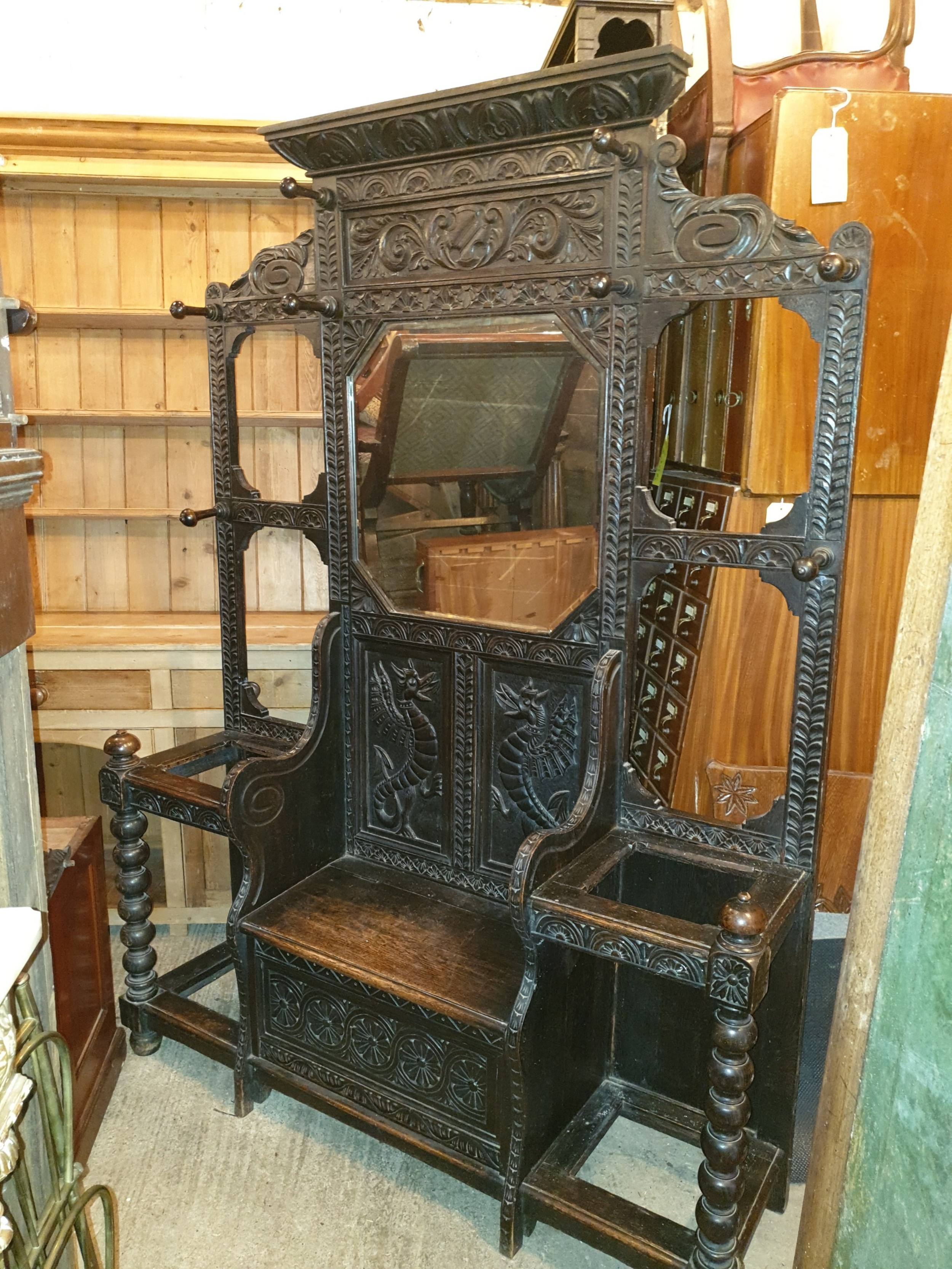 large victorian carved oak box seat hallstand