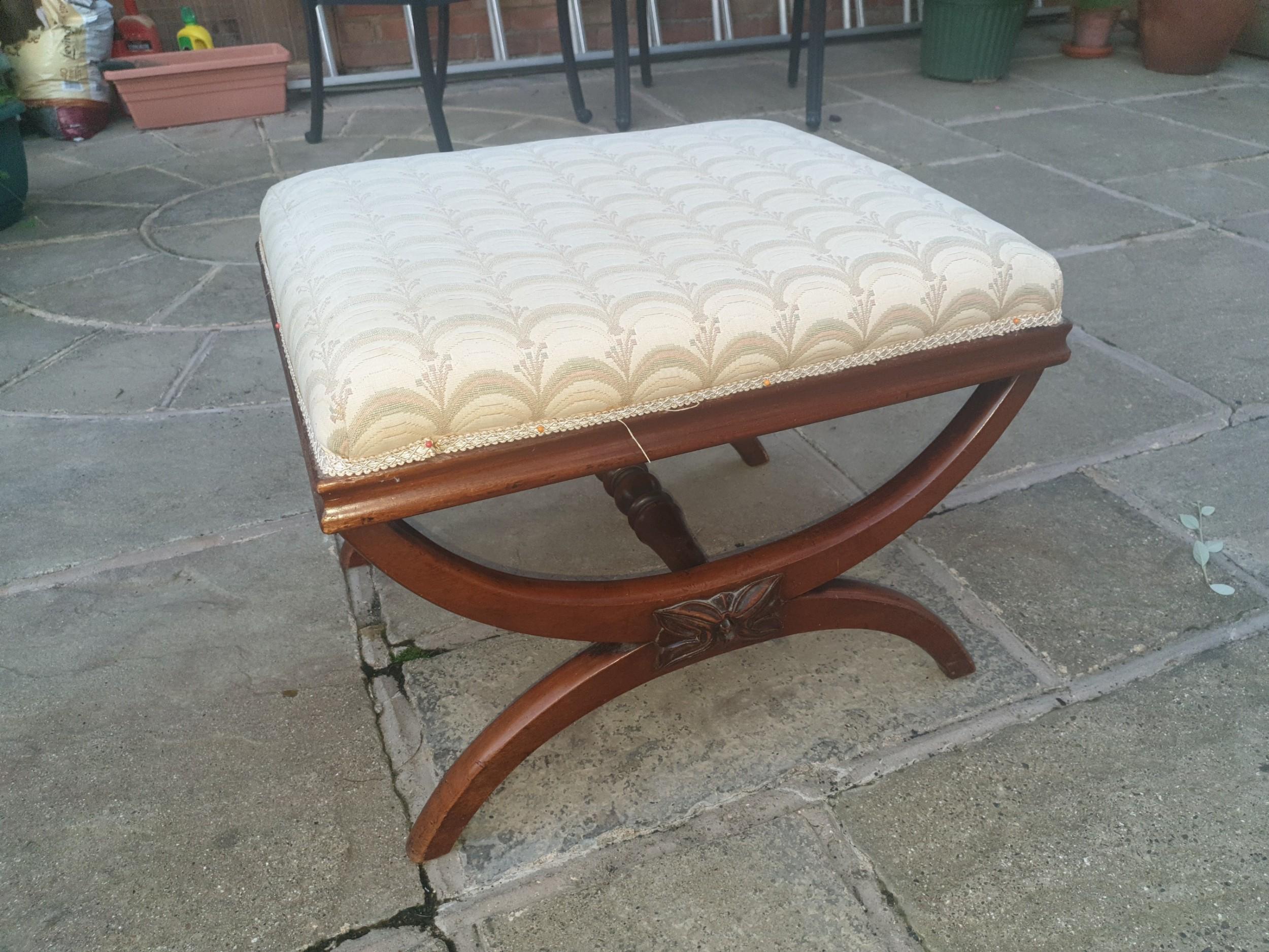 mid 19th century mahogany x frame centre stool