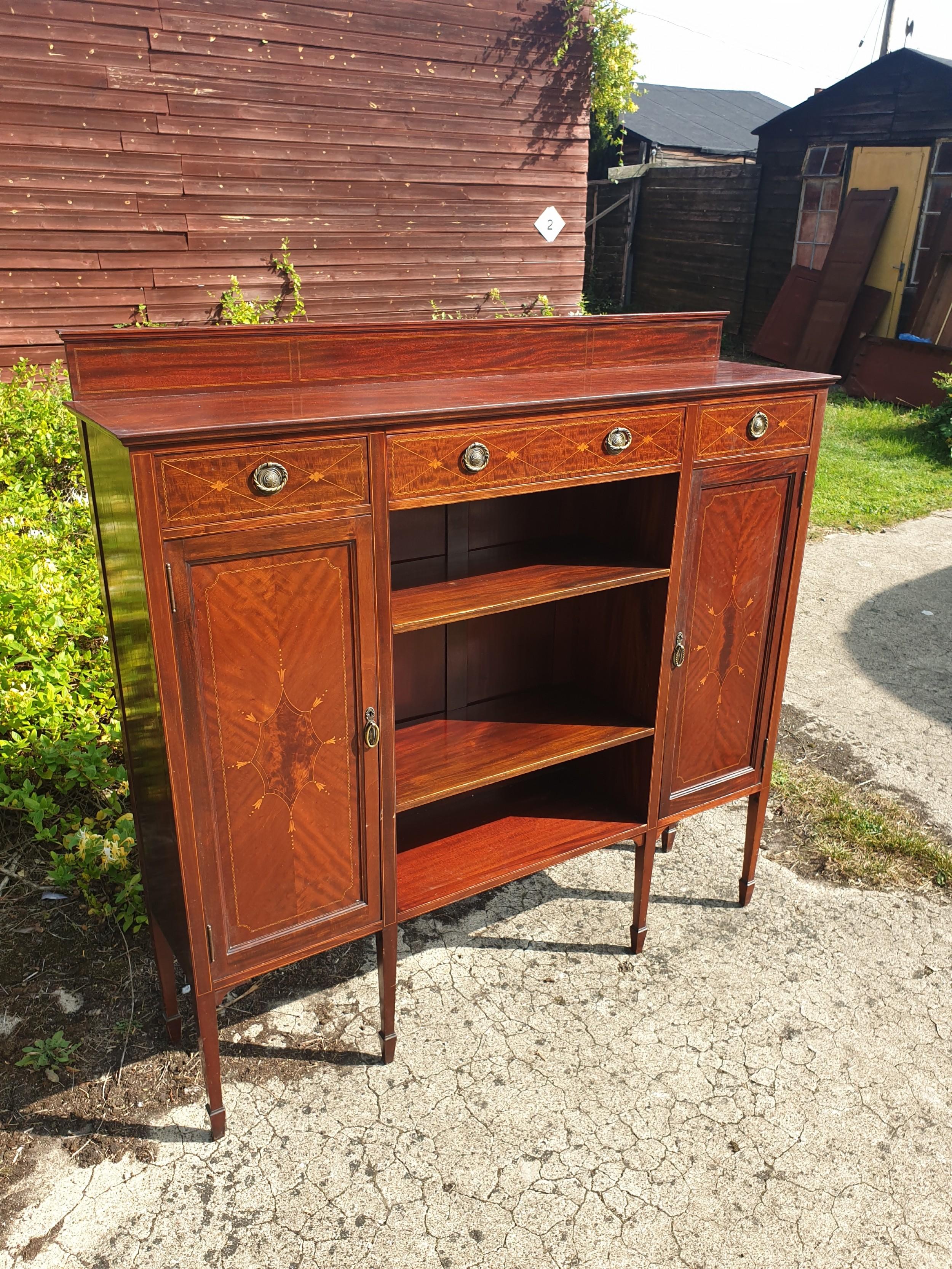 edwardian inlaid mahogany bookcase cabinet