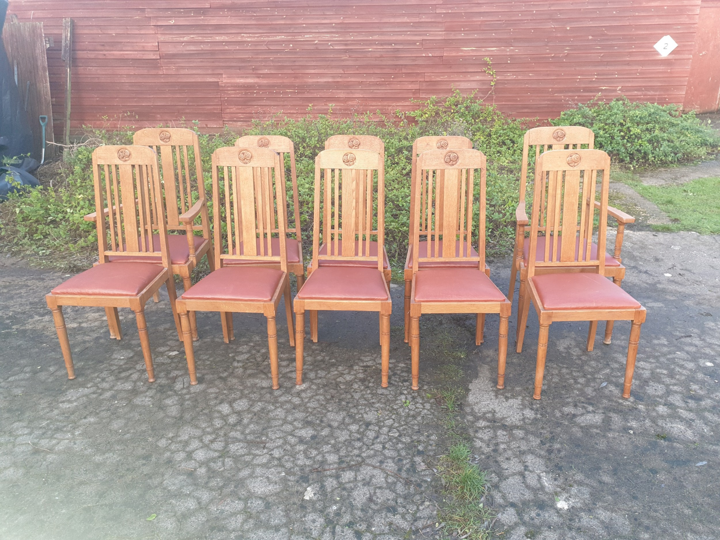 set of 10 oak arts and crafts dining chairs