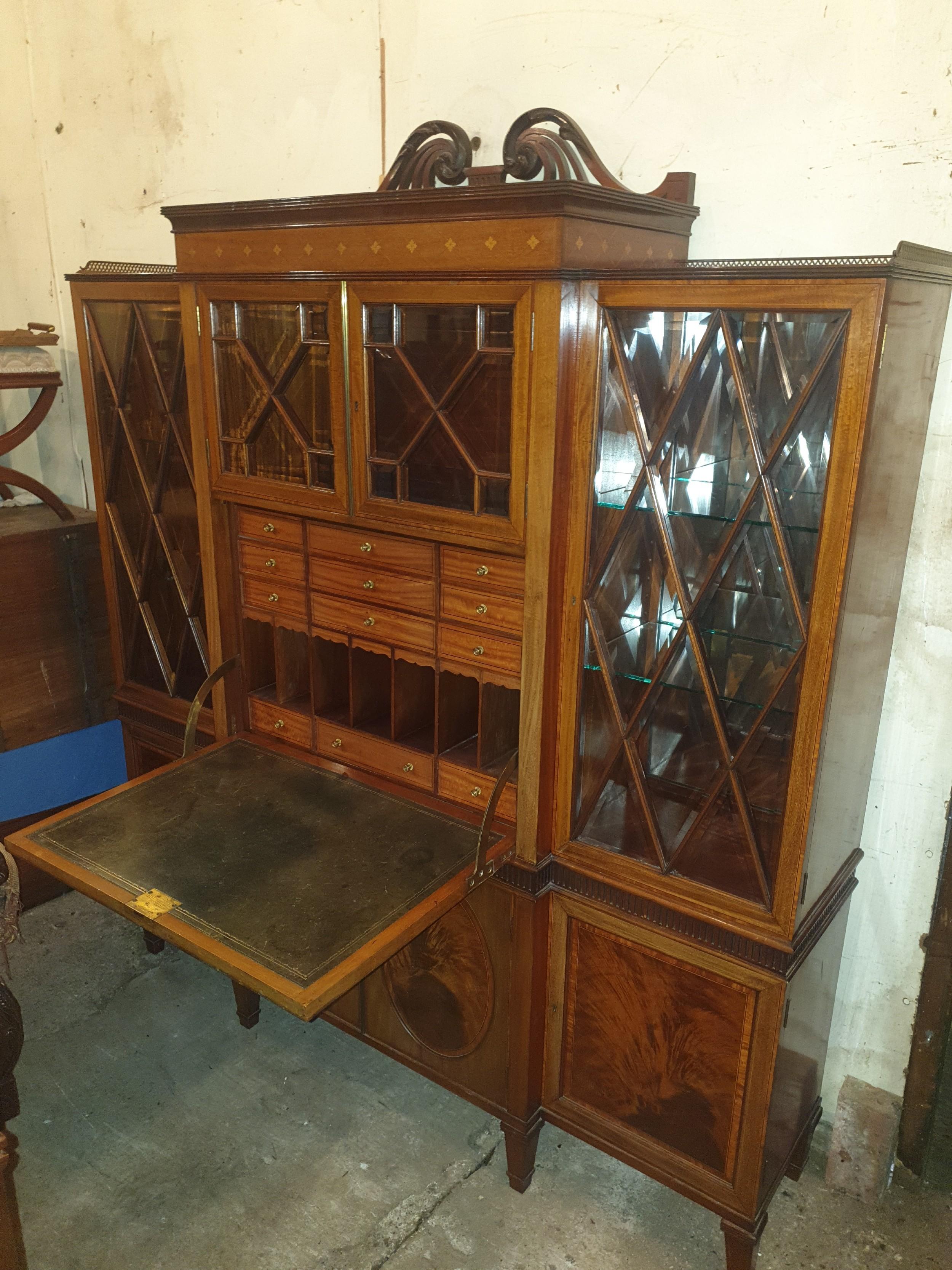 good quality edwardian inlaid mahogany secretaire cabinet