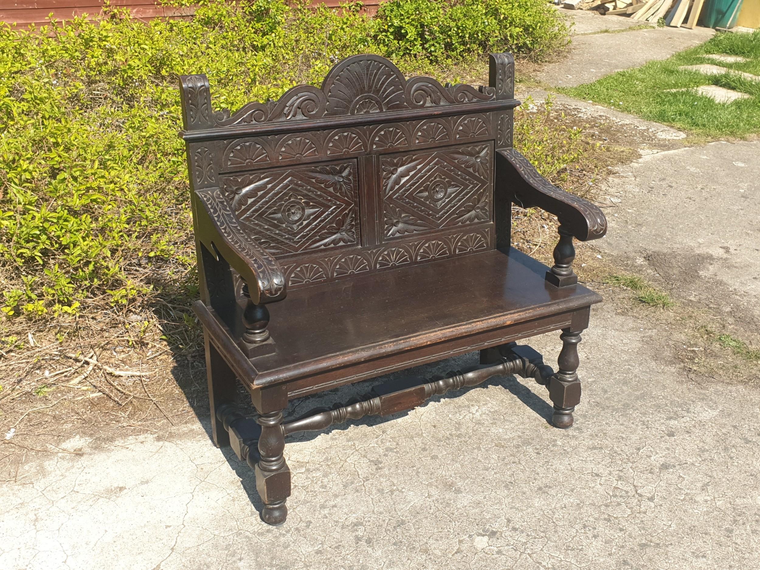 solid oak late victorian oak hall bench