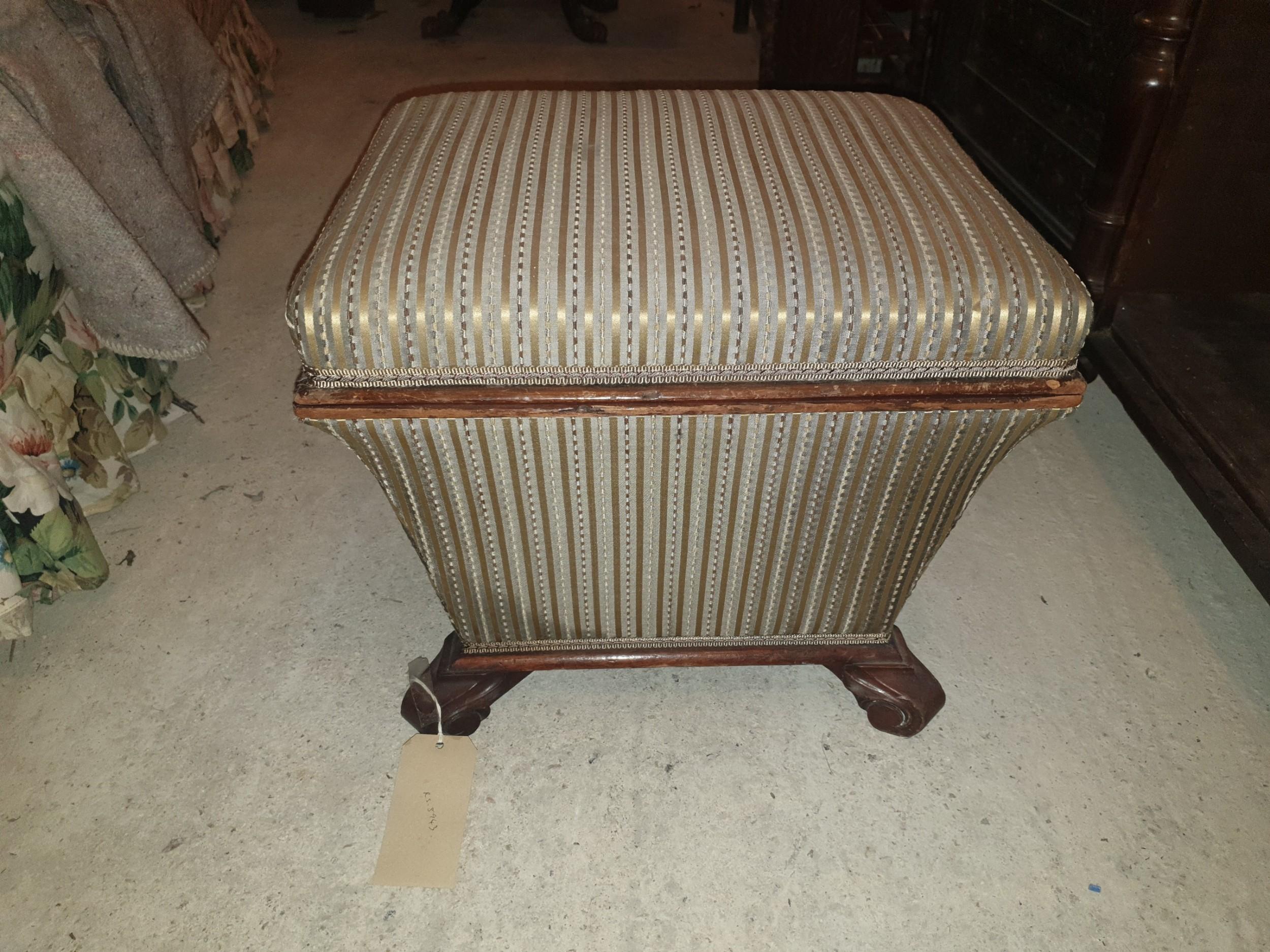 early victorian box seat ottoman stool