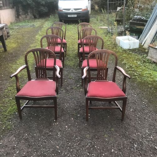 set of eight 18th century george iii mahogany dining chairs