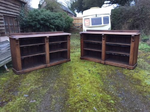 a pair of 19th century oak open bookcases