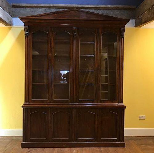 19thc english mahogany 4 door library bookcase