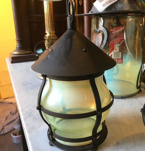pair of arts crafts steel lanterns with vaseline shades c1900