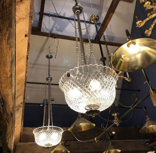 a pair of edwardian cut glass plated bowl chandeliers