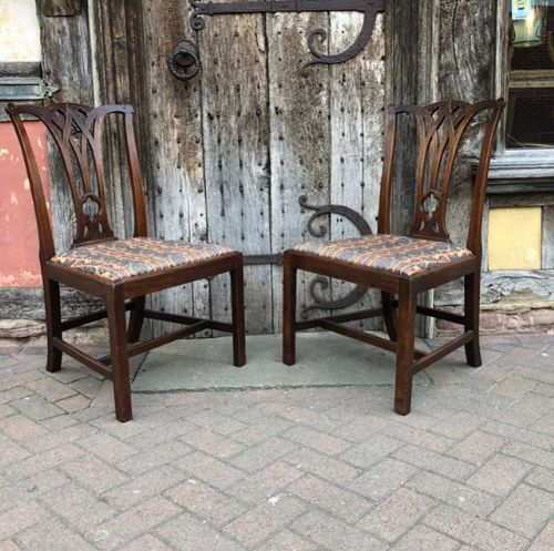 a pair of 18thc mahogany chippendale period gothic chairs