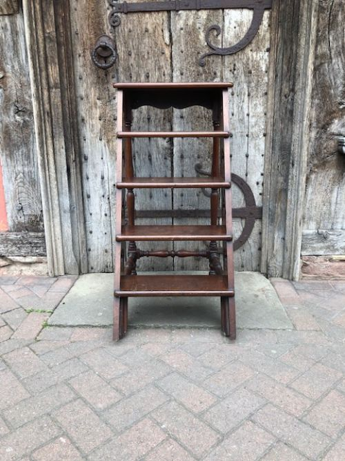 a set of 19thc gothic revival mahogany library steps
