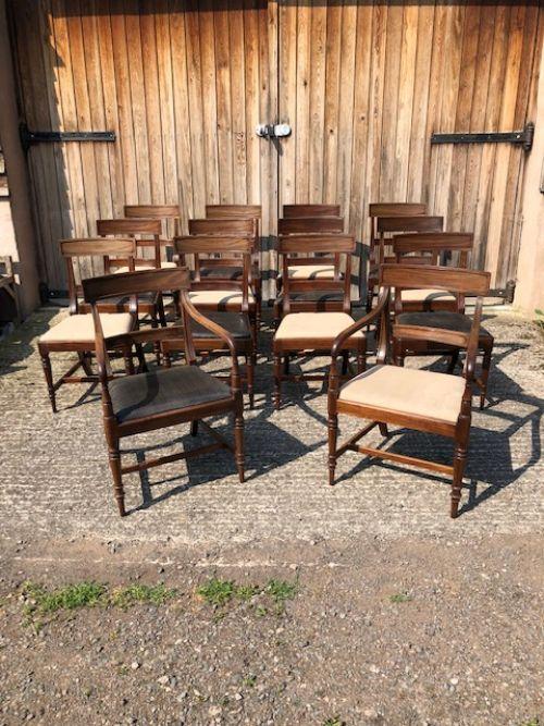 a set of 12 single 2 carver regency mahogany chairs