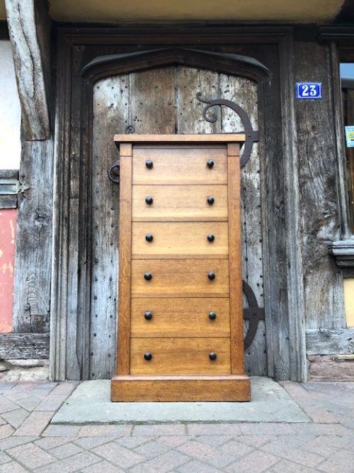 a 19th century golden oak wellington chest of unusual drawer arrangements