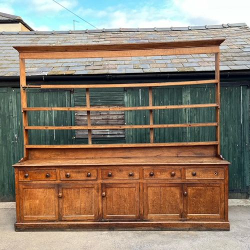 a monumental 19th century oak country house dresser and rack