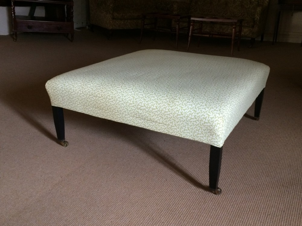 19thc ebonised tapered leg large square stool in ticking