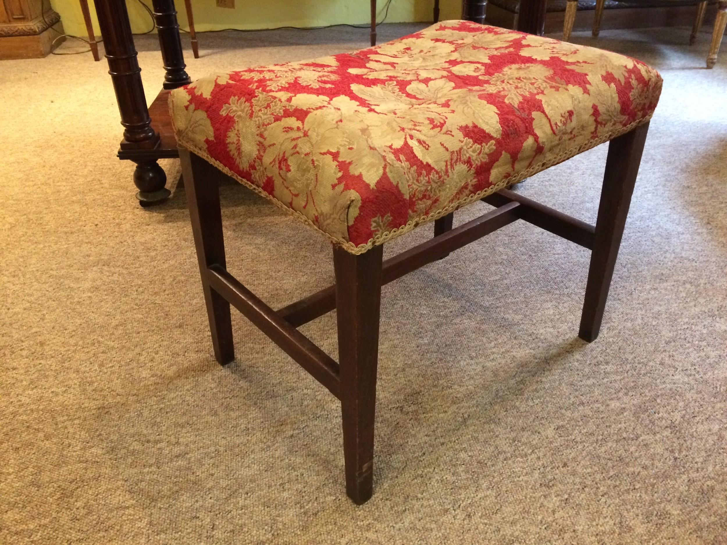 18thc mahogany stool with petit point tapestry