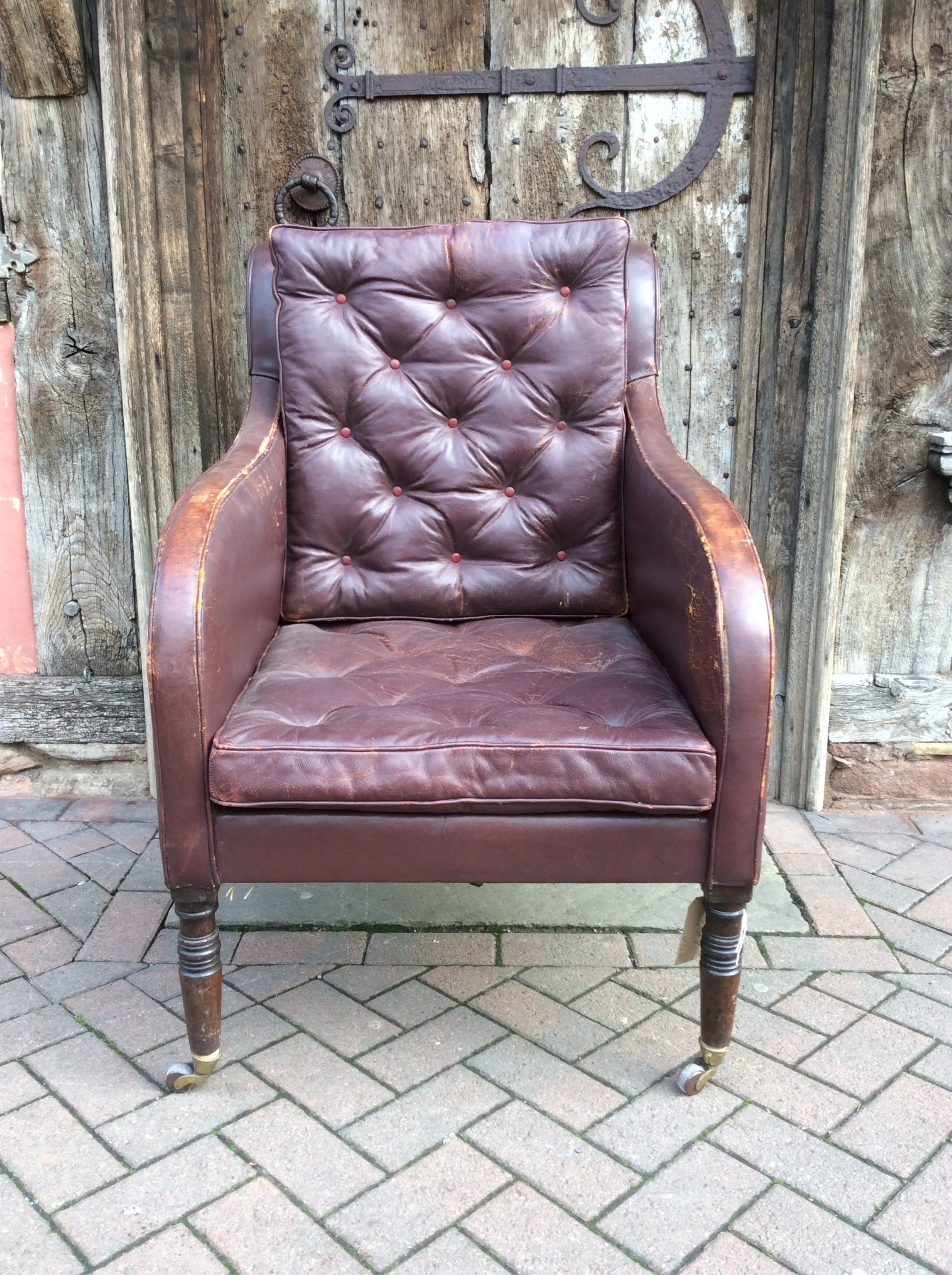 19thc leather library chair