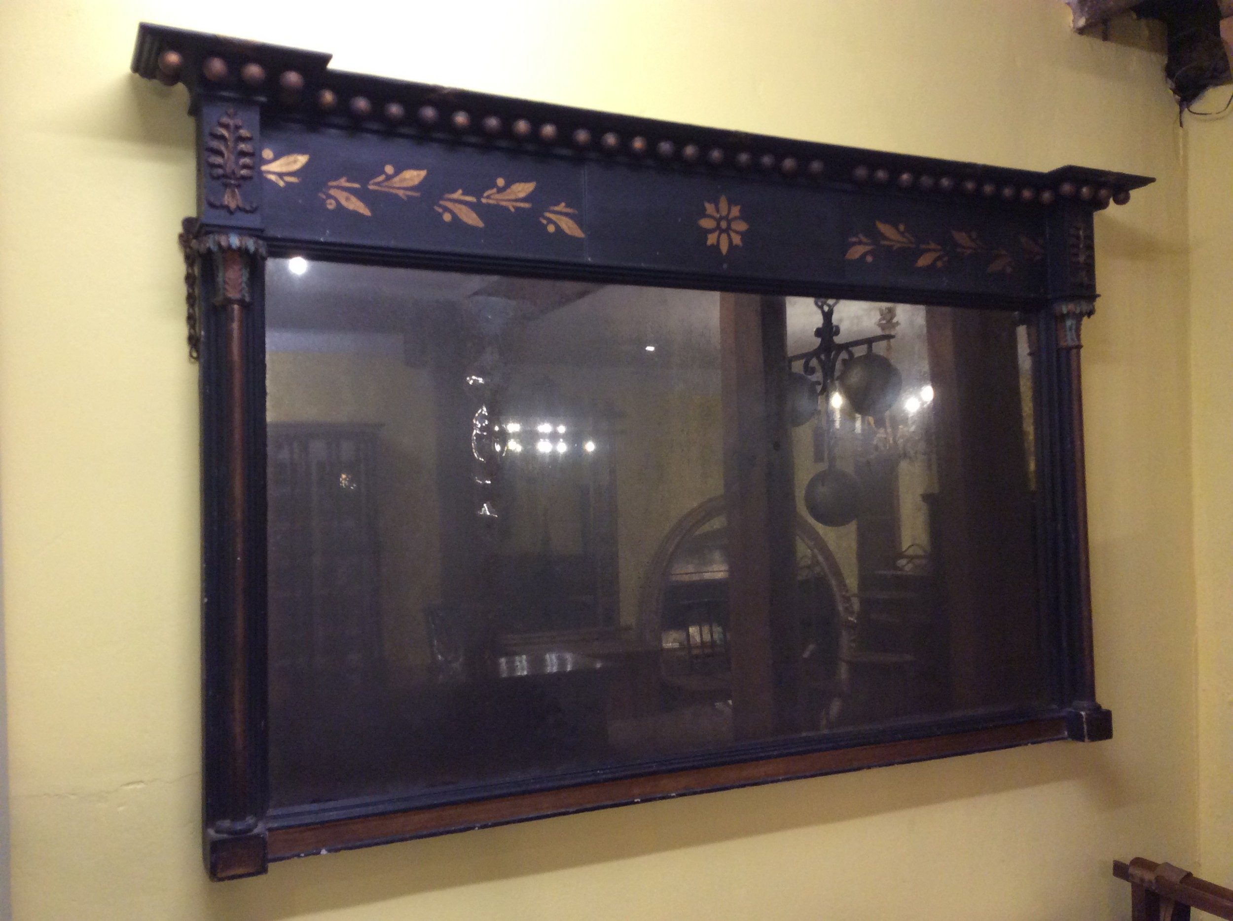 19thc ebonised overmantle mirror with original glass plate