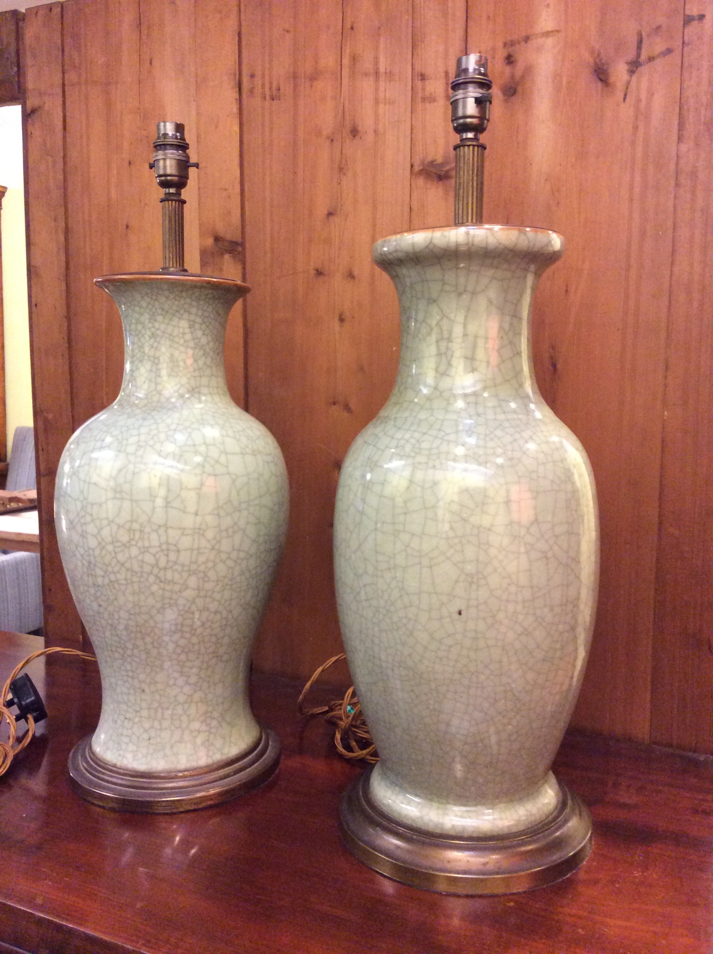 a near pair of celadon large table lamps