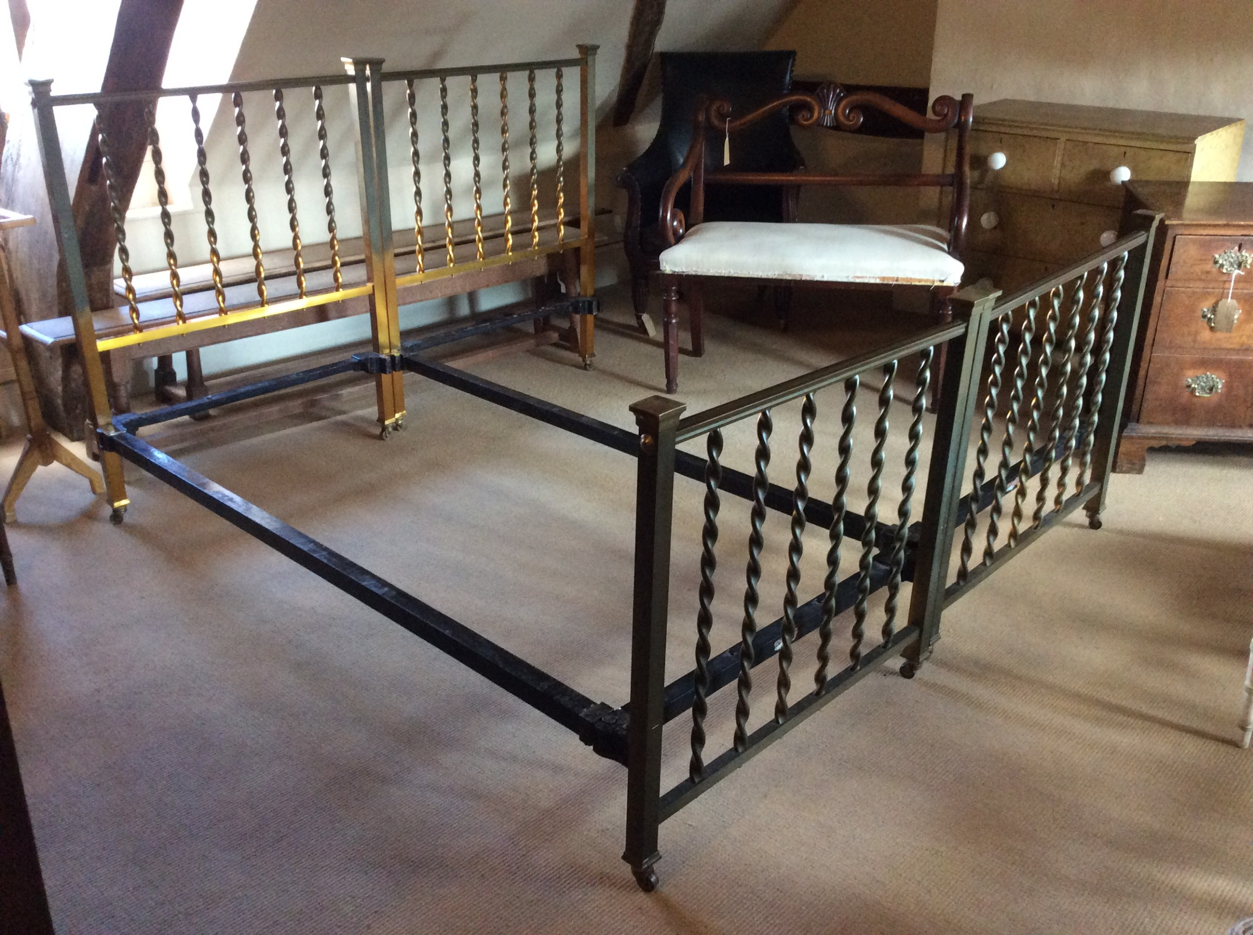 a pair of 19thc single brass beds by hoskins