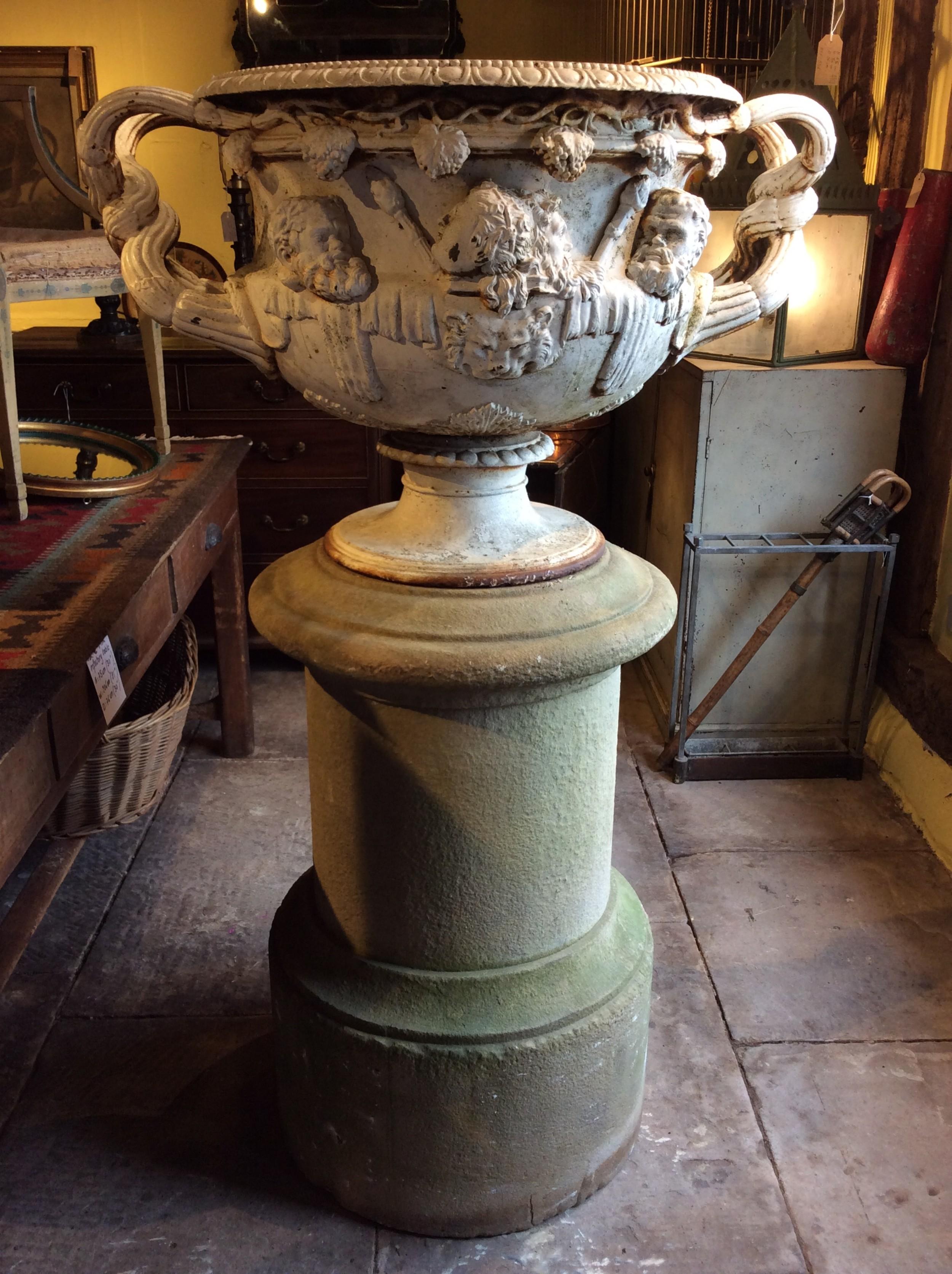a 19thc cast iron warwick vase