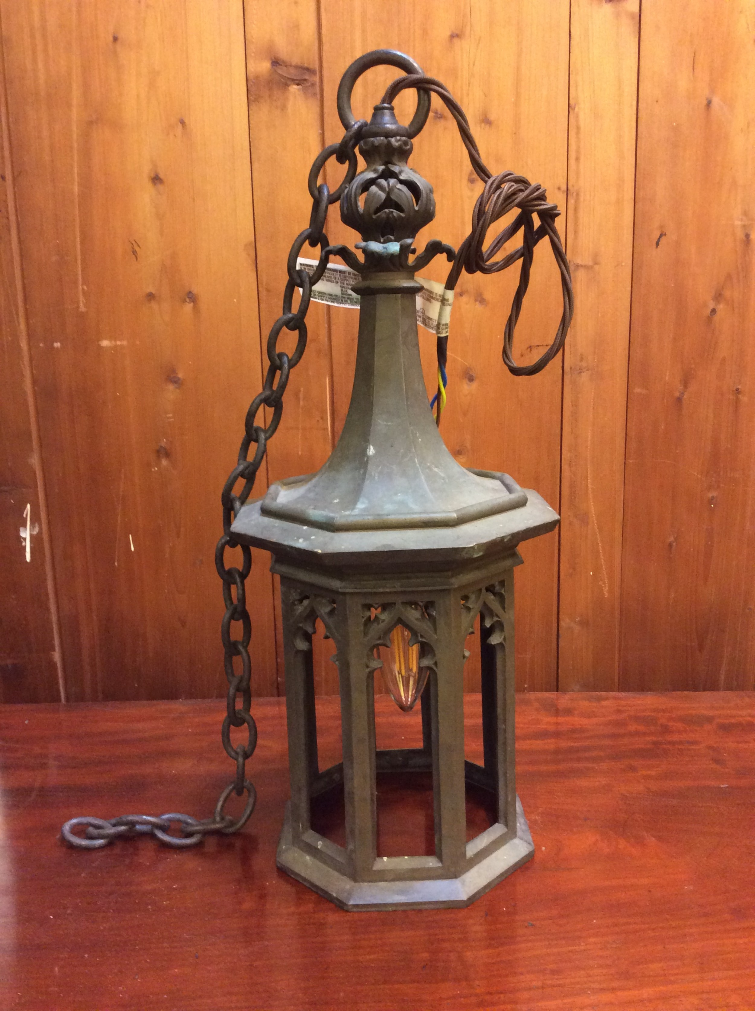 an early 20thc gothic revival bronze hall lantern