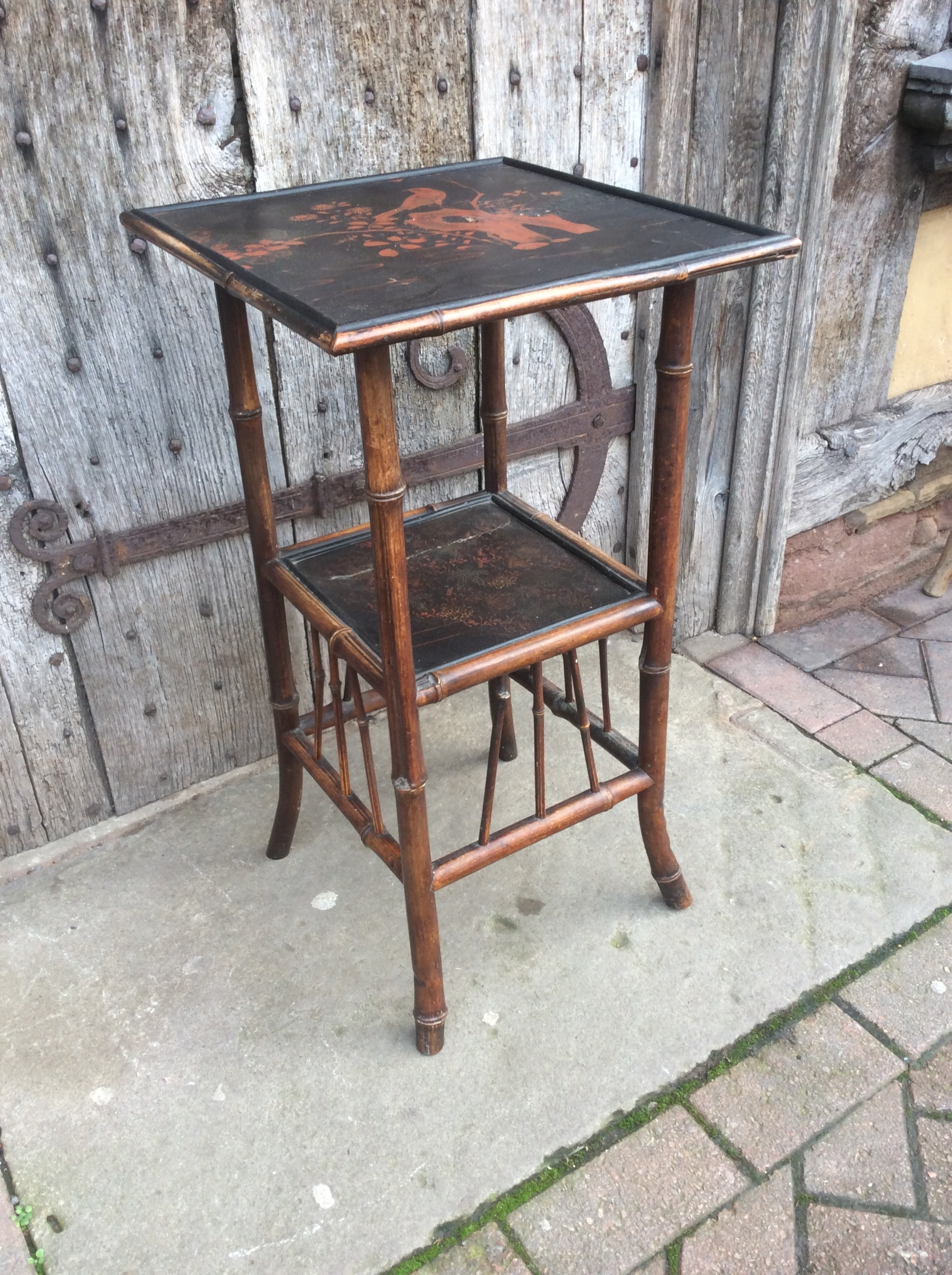 a 19thc bamboo and lacquered decorated lamp table