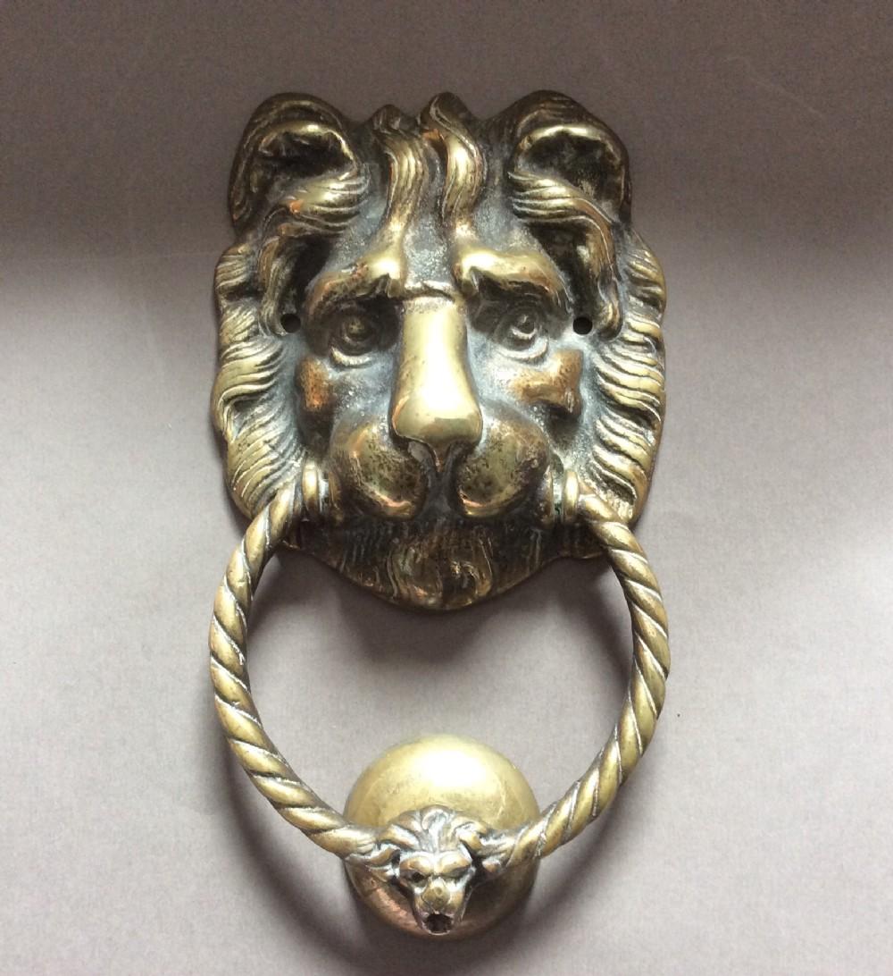 A Large Brass Lion Head Door Knocker C1860 490537