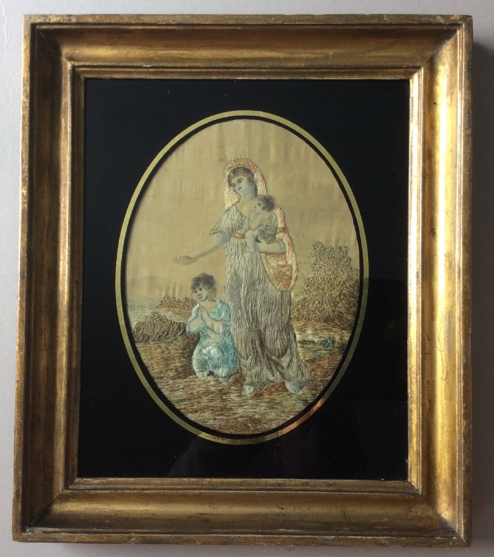 a georgian silk picture of charity c1820