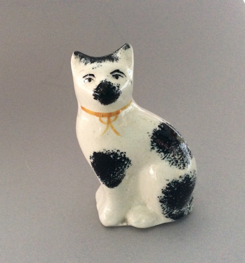 a staffordshire spongeware pottery cat c1860