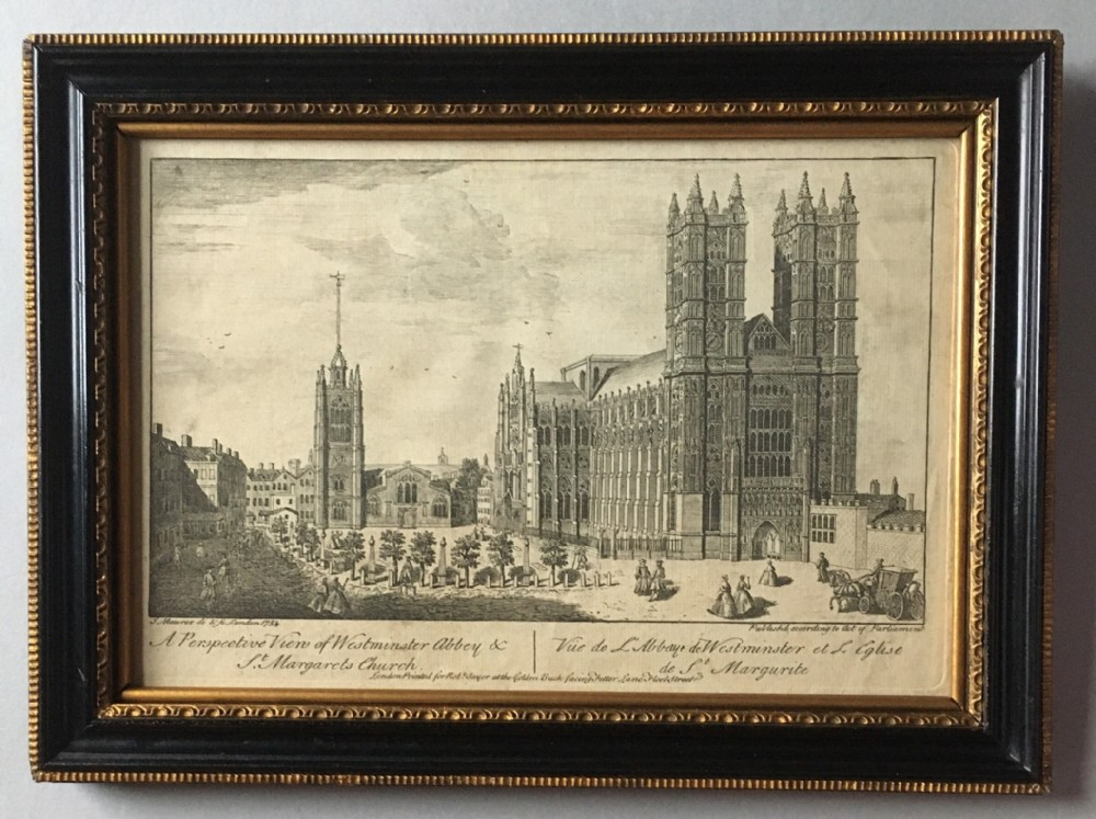 a georgian engraving print of westminster abbey 1753
