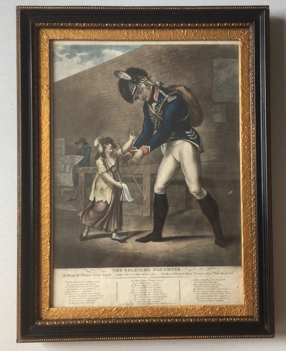 a georgian engraving print the soldier's daughter 1803