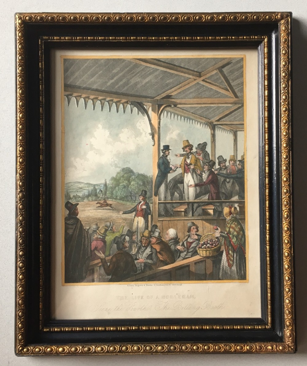 a georgian engraving print the betting booth c1825